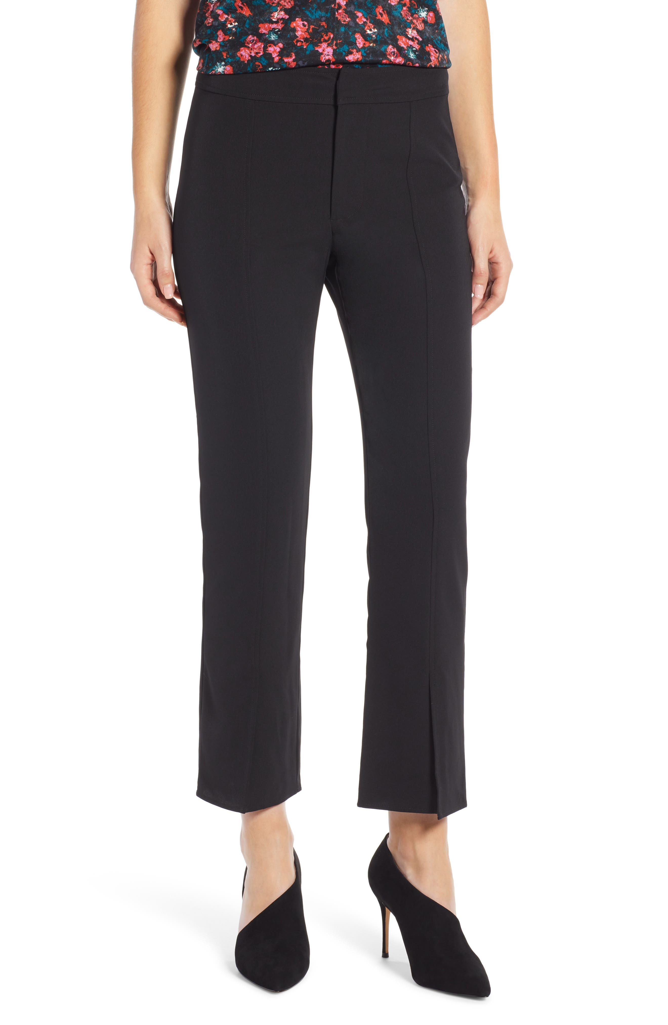 Skinny Slit Hem Pants,                         Main,                         color, BLACK