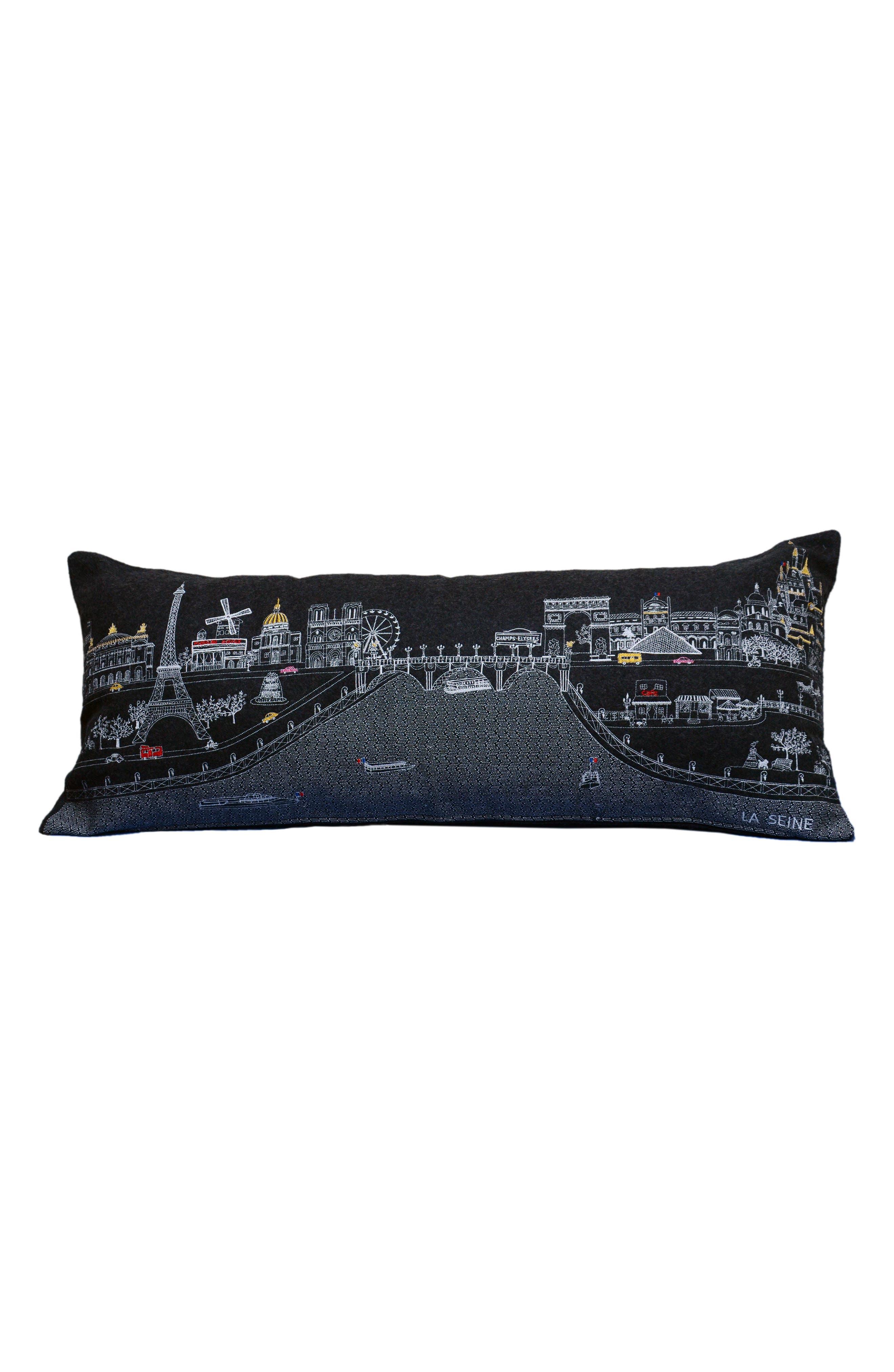 Paris Embroidered Skyline Pillow,                             Main thumbnail 1, color,                             BLACK