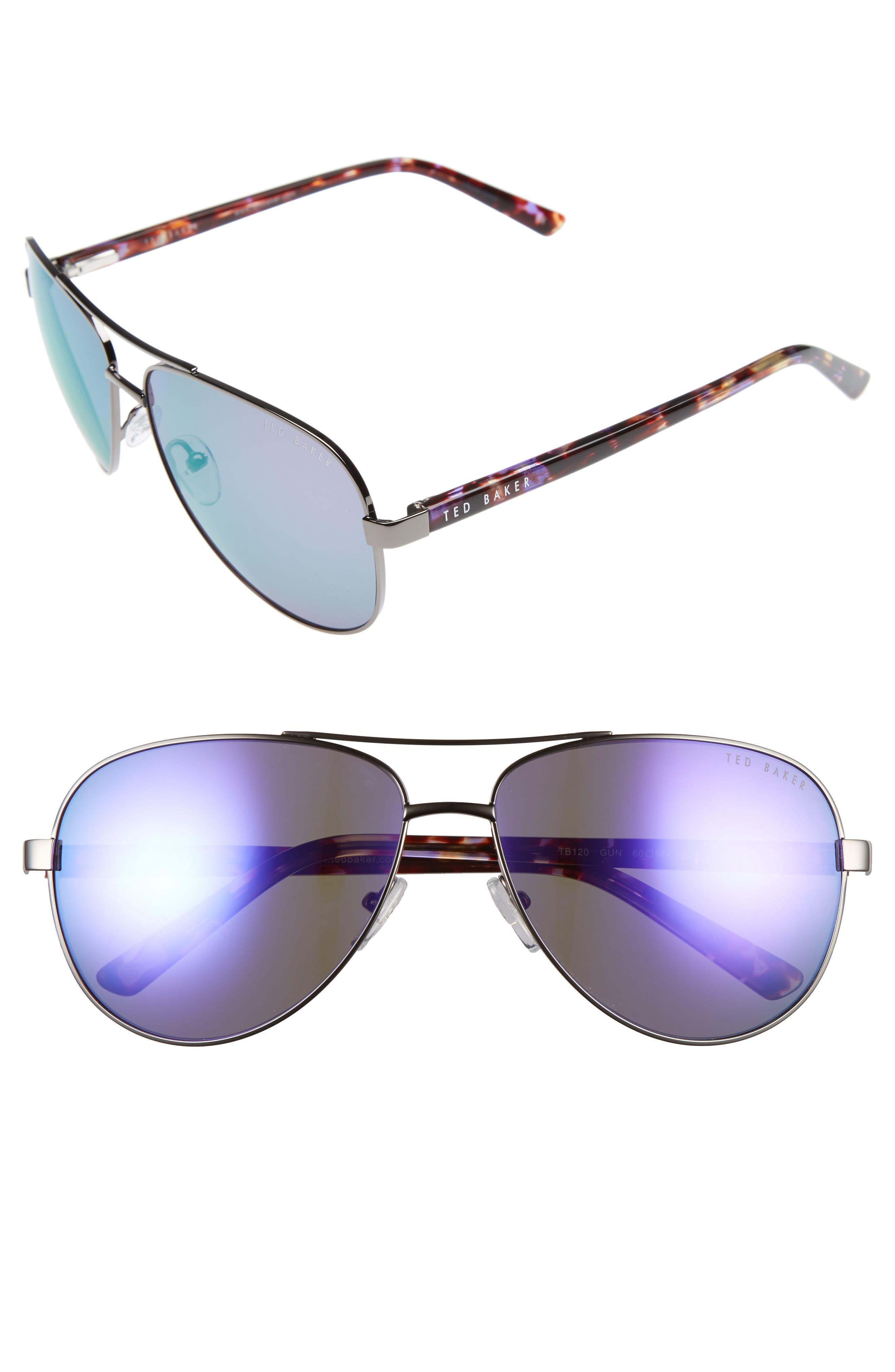 60mm Aviator Sunglasses,                             Main thumbnail 1, color,                             GUNMETAL
