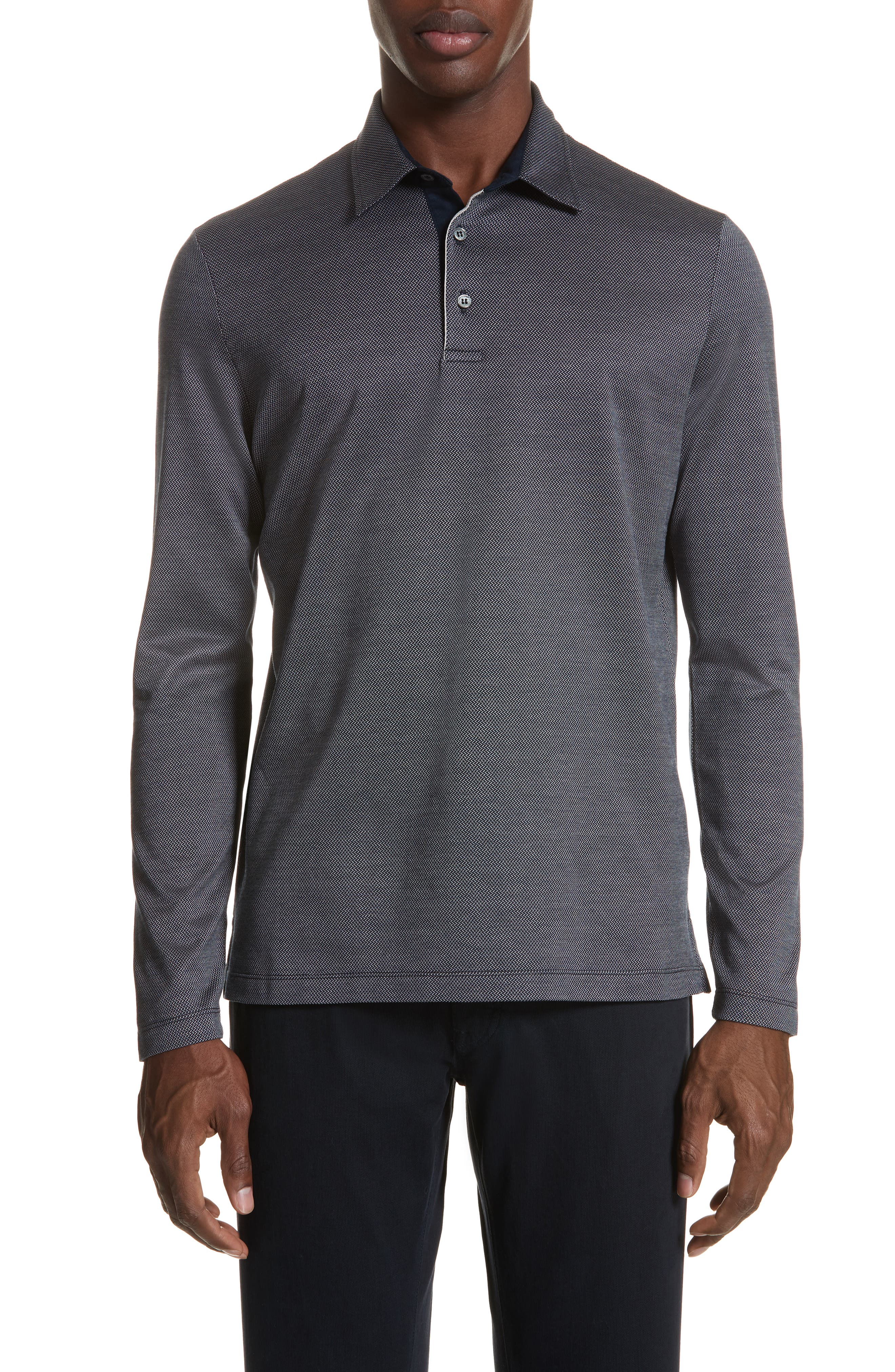 Cotton Polo Shirt,                         Main,                         color, NAVY