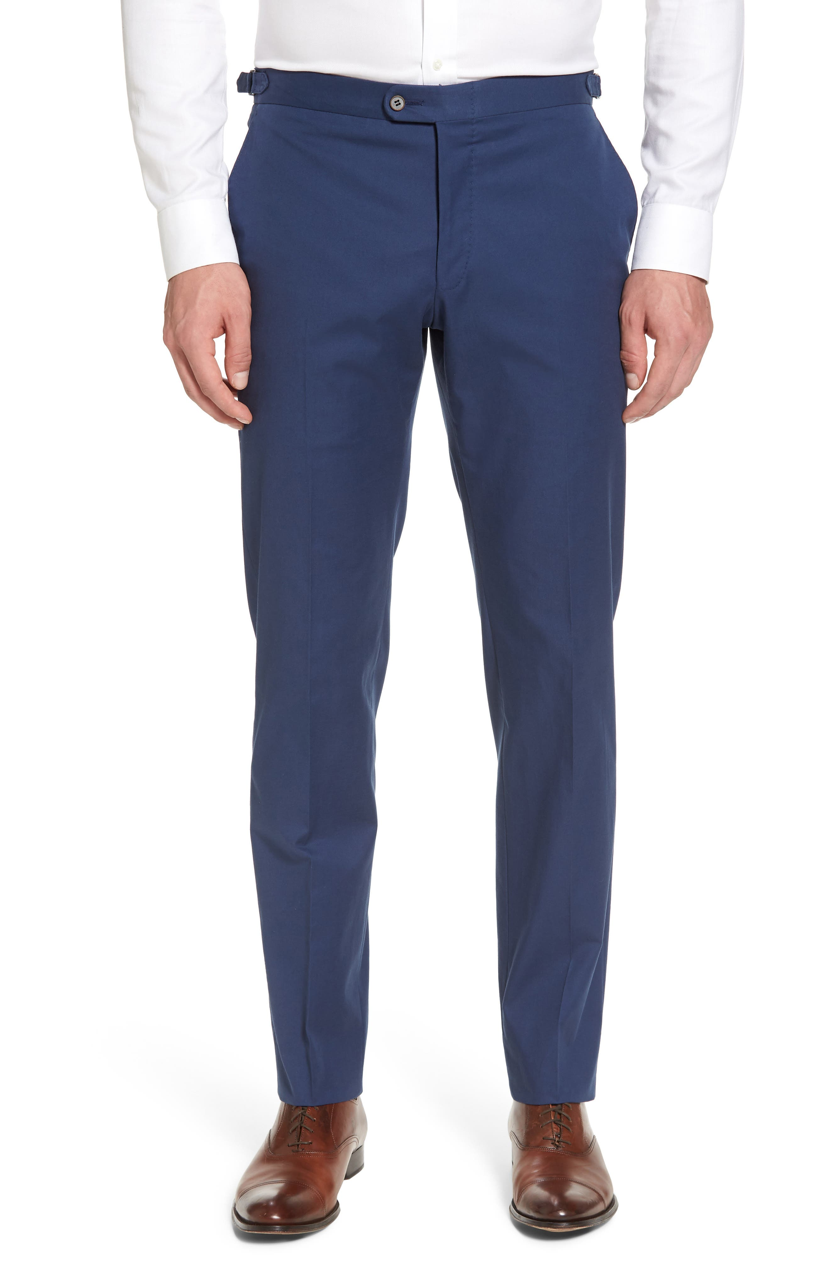Flat Front Solid Stretch Cotton Trousers,                             Main thumbnail 1, color,                             422