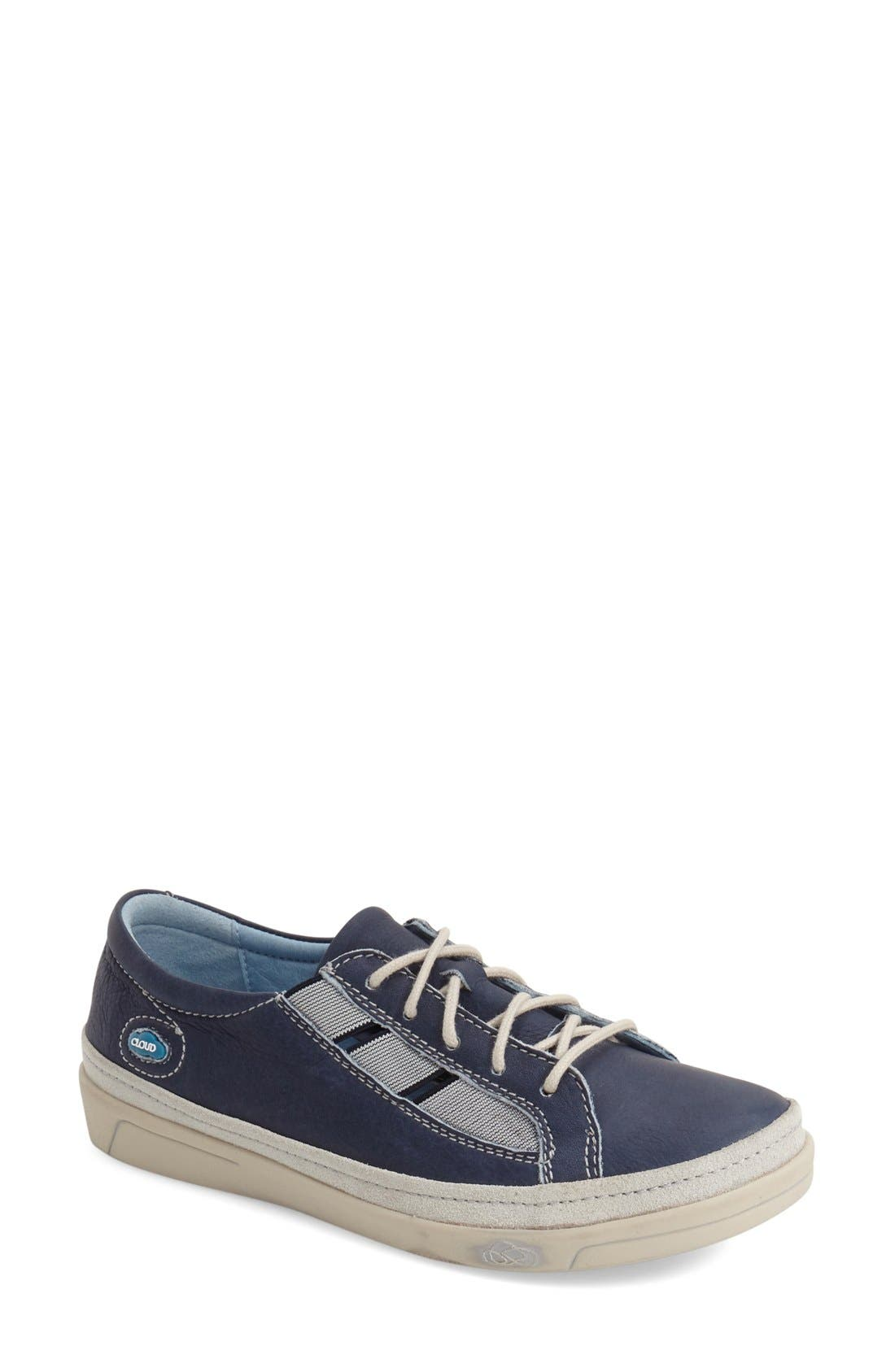 'Amazonas' Leather Sneaker,                             Main thumbnail 1, color,                             BLUE LEATHER