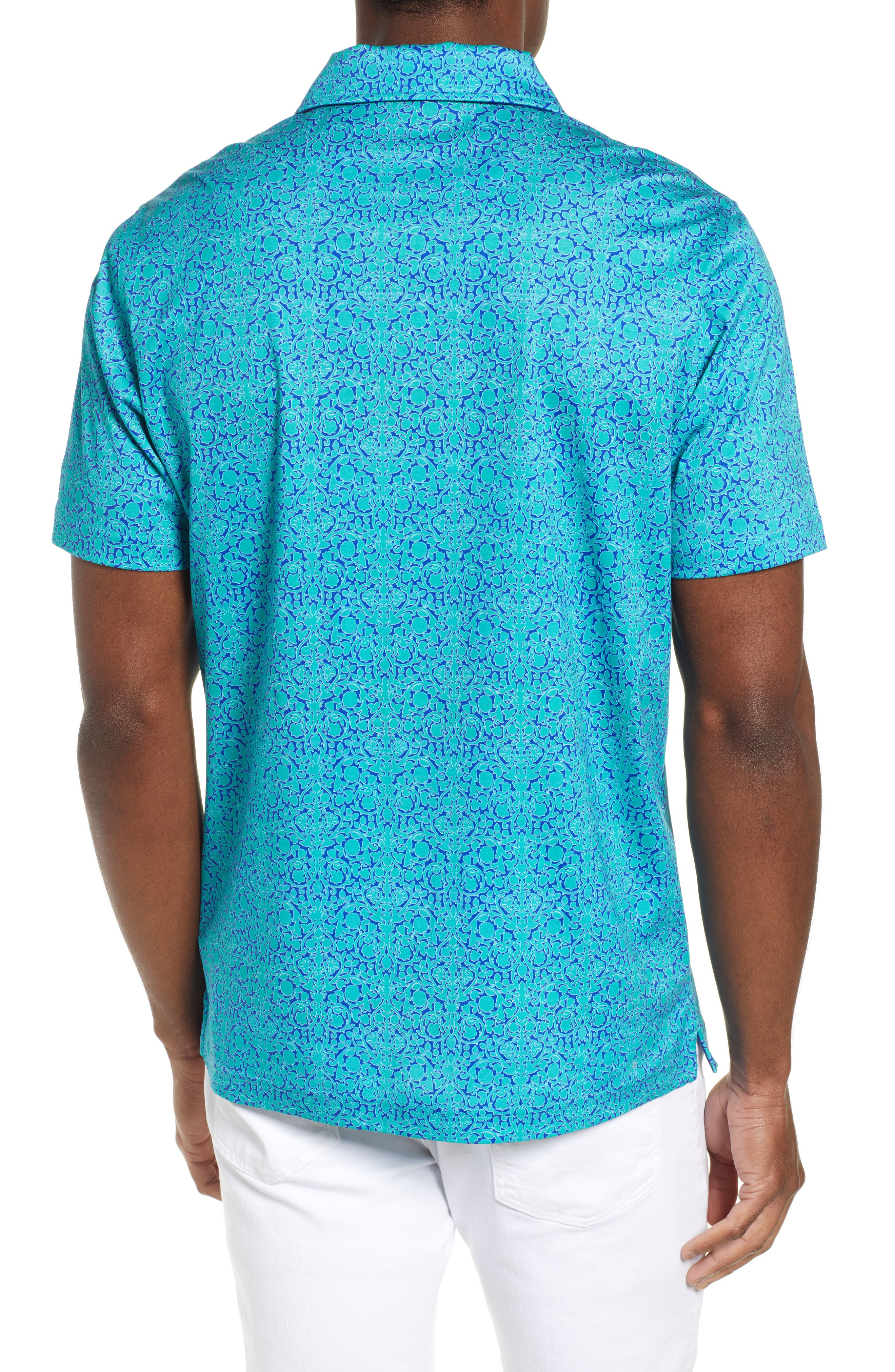 BUGATCHI,                             Regular Fit Digital Print Polo,                             Alternate thumbnail 2, color,                             EMERALD