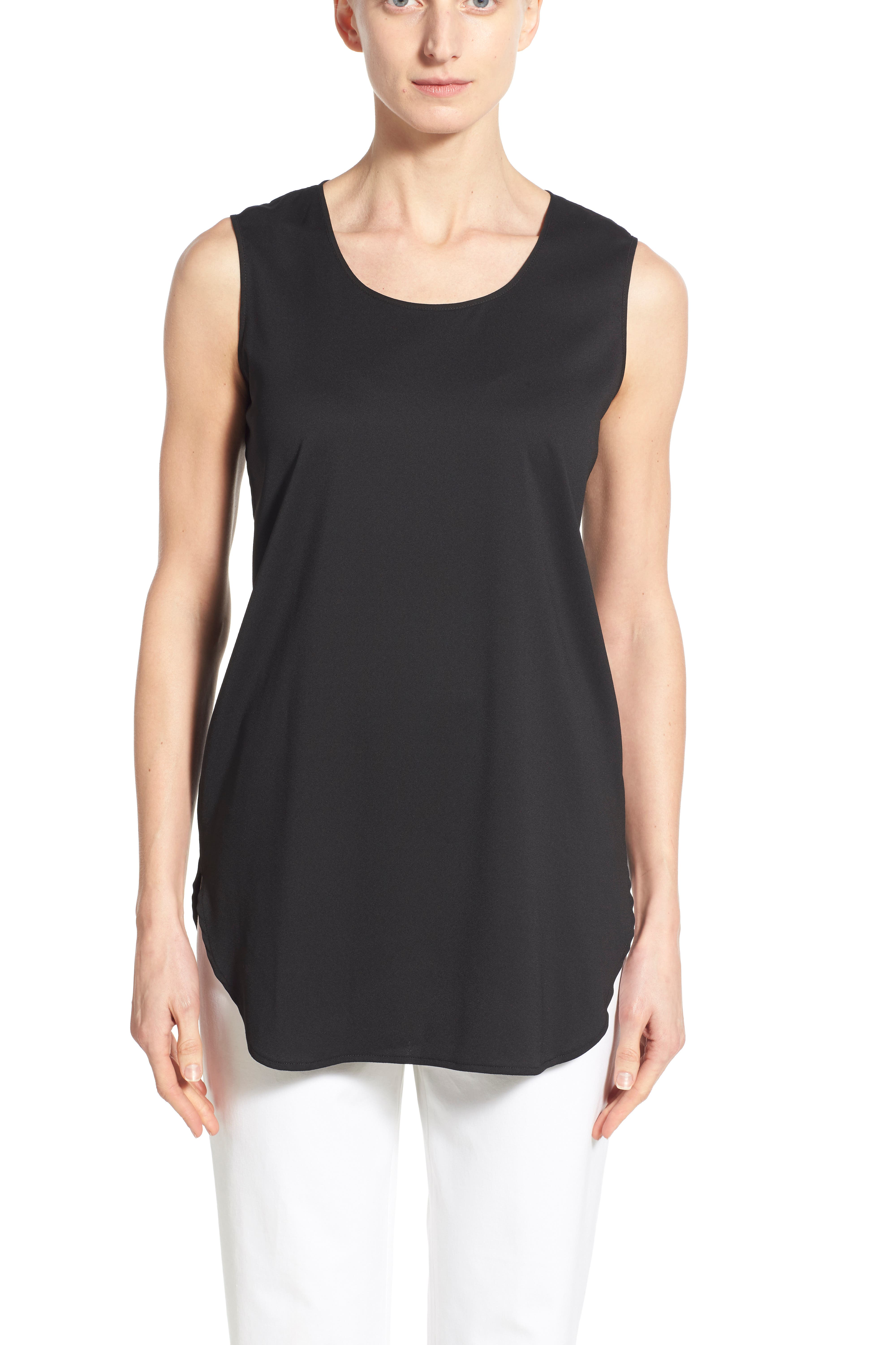 Sleeveless Woven Shell,                             Alternate thumbnail 5, color,                             BLACK