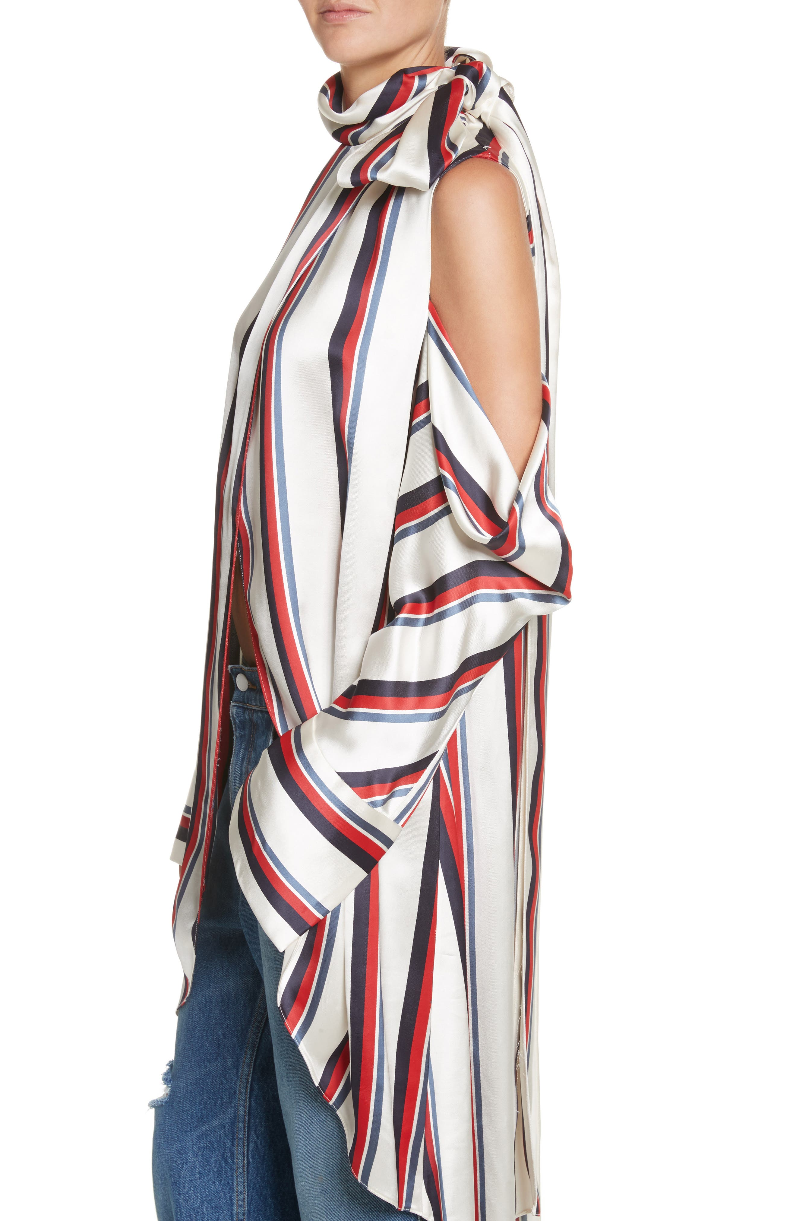 Stripe Off the Shoulder Blouse,                             Alternate thumbnail 4, color,