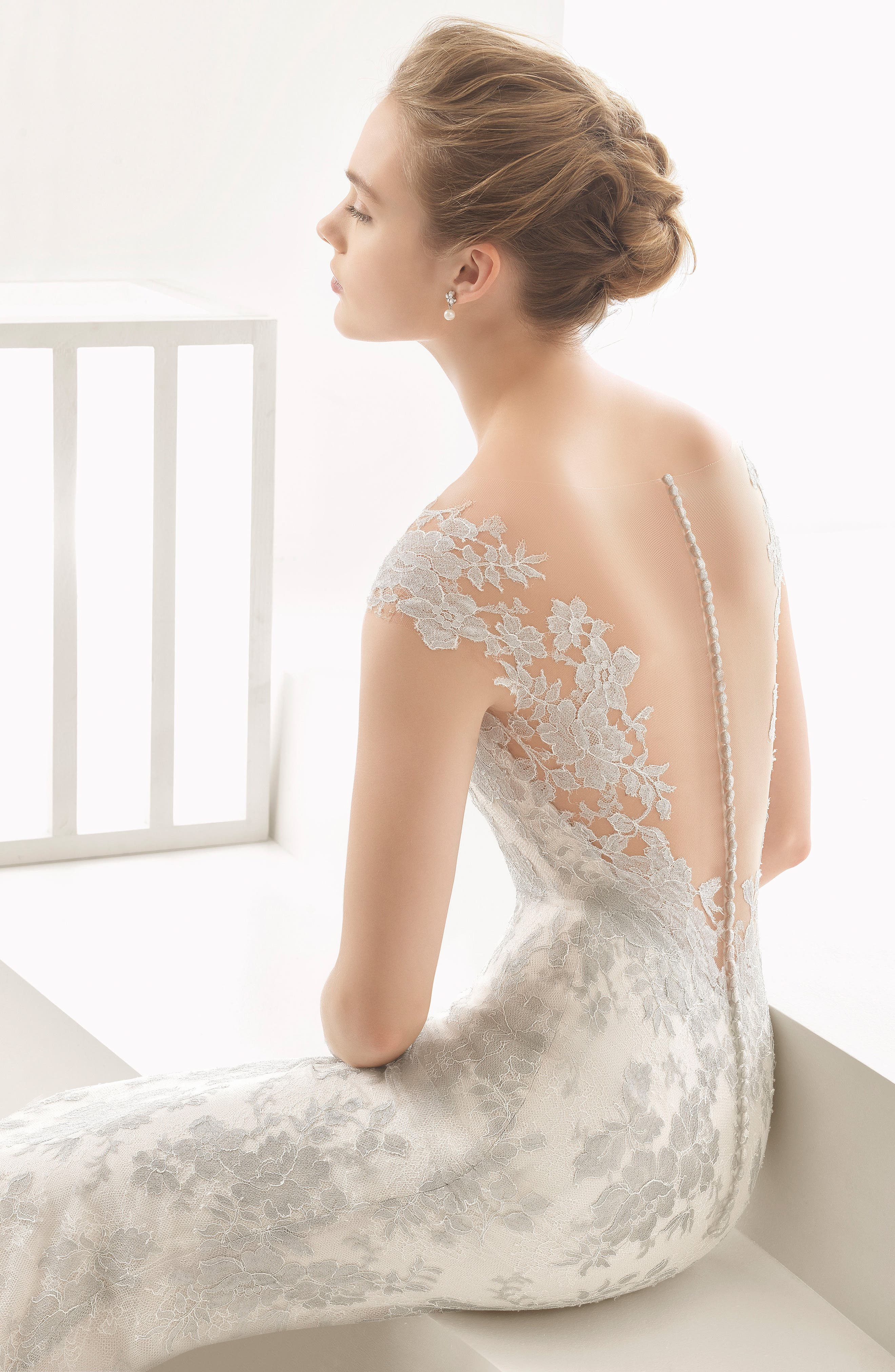 Naia Silver Chantilly Lace Mermaid Gown,                             Alternate thumbnail 3, color,                             250