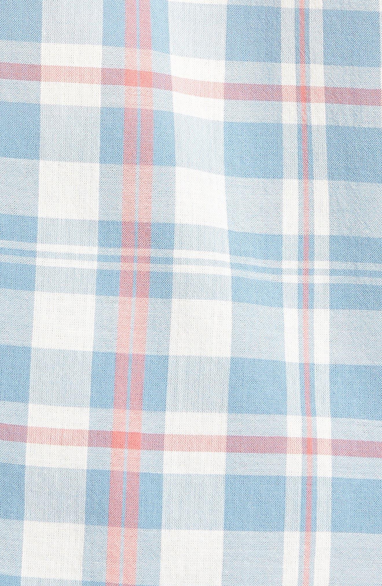 Ventura Plaid Sport Shirt,                             Alternate thumbnail 5, color,                             WASHED BLUE CREAM
