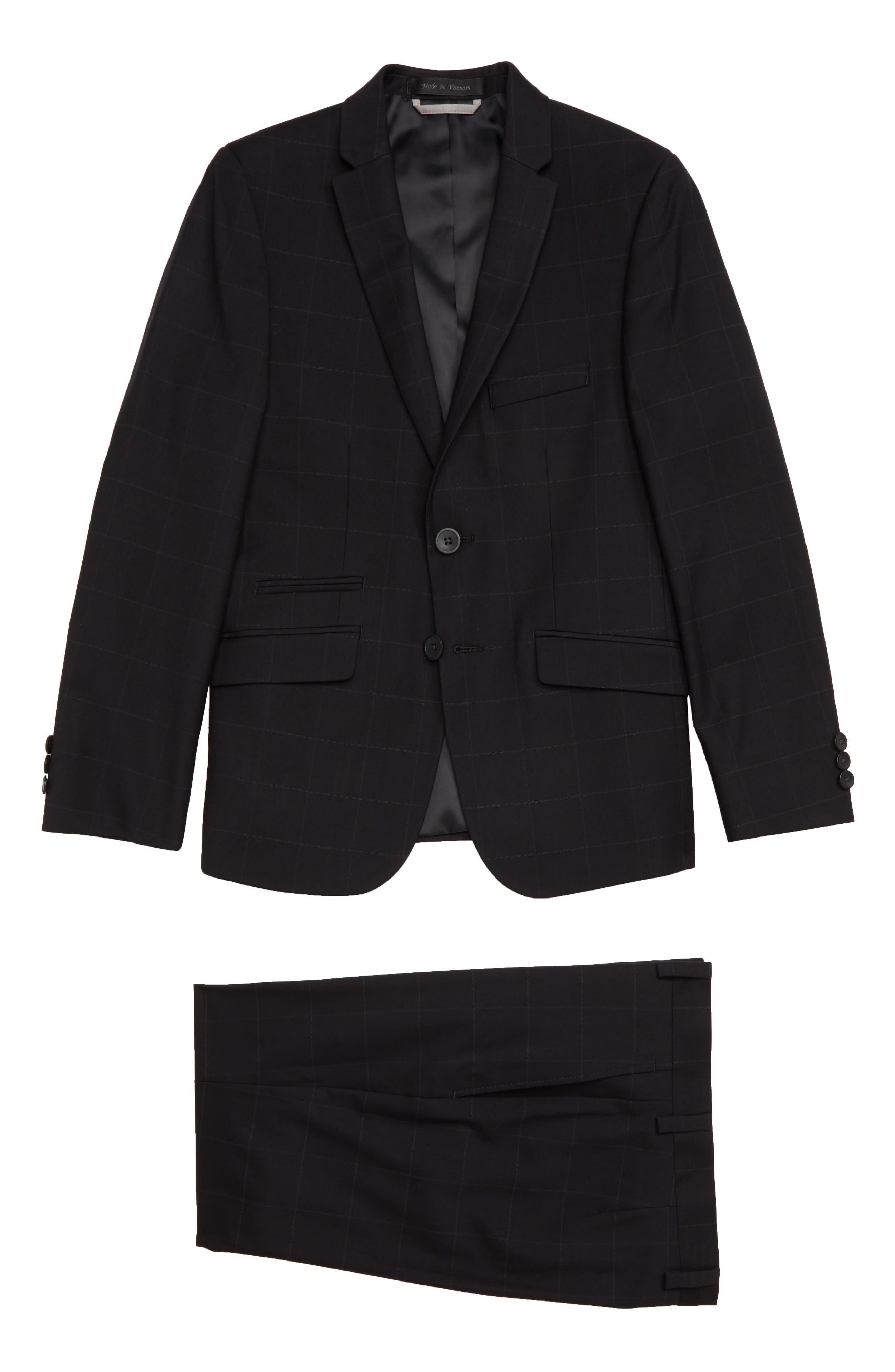 Windowpane Suit,                         Main,                         color, BLACK