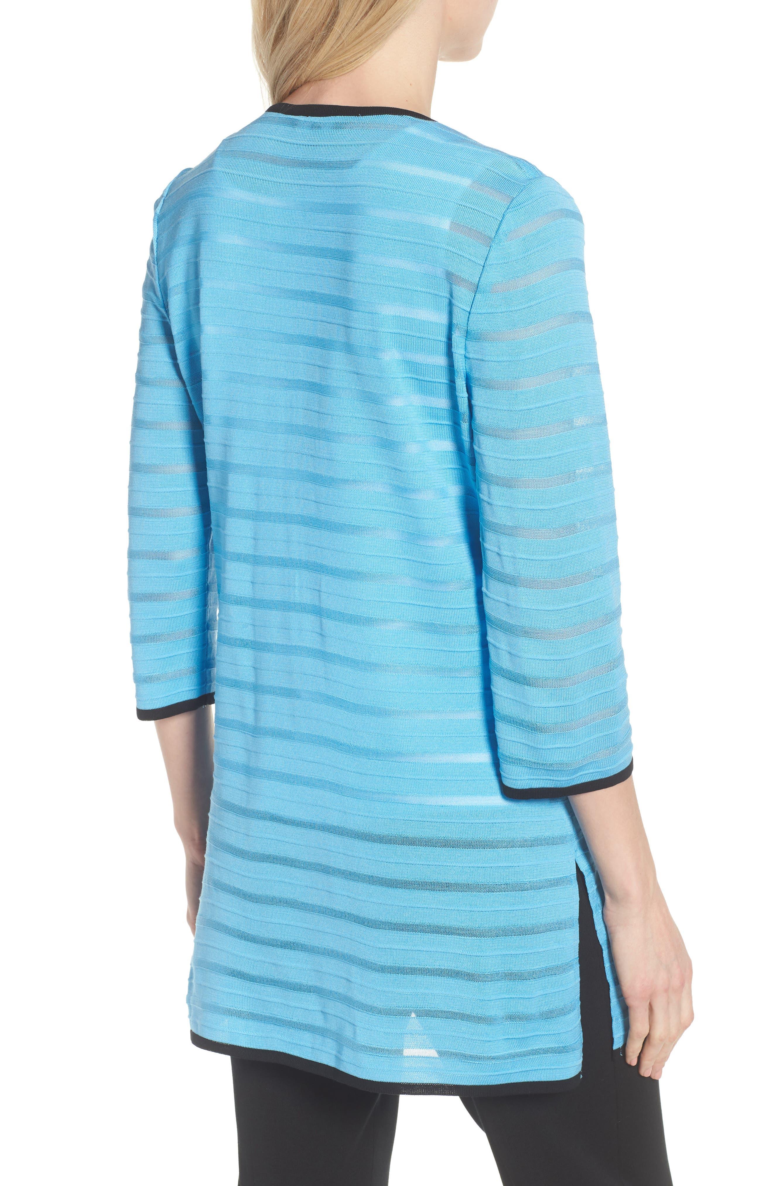 Sheer Stripe Long Jacket,                             Alternate thumbnail 2, color,                             BLUEBONNET/ BLACK
