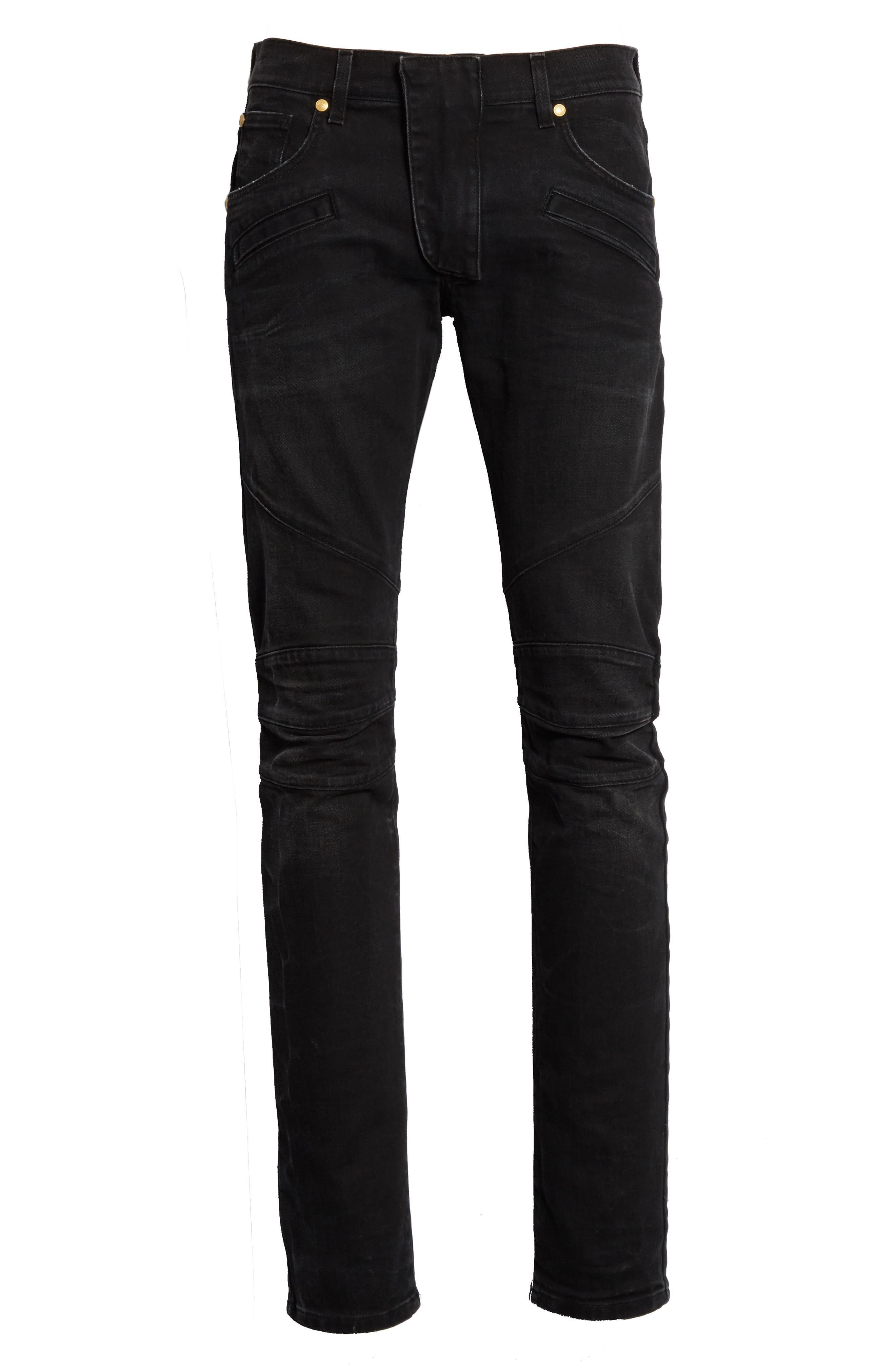 Biker Jeans,                             Alternate thumbnail 6, color,                             001
