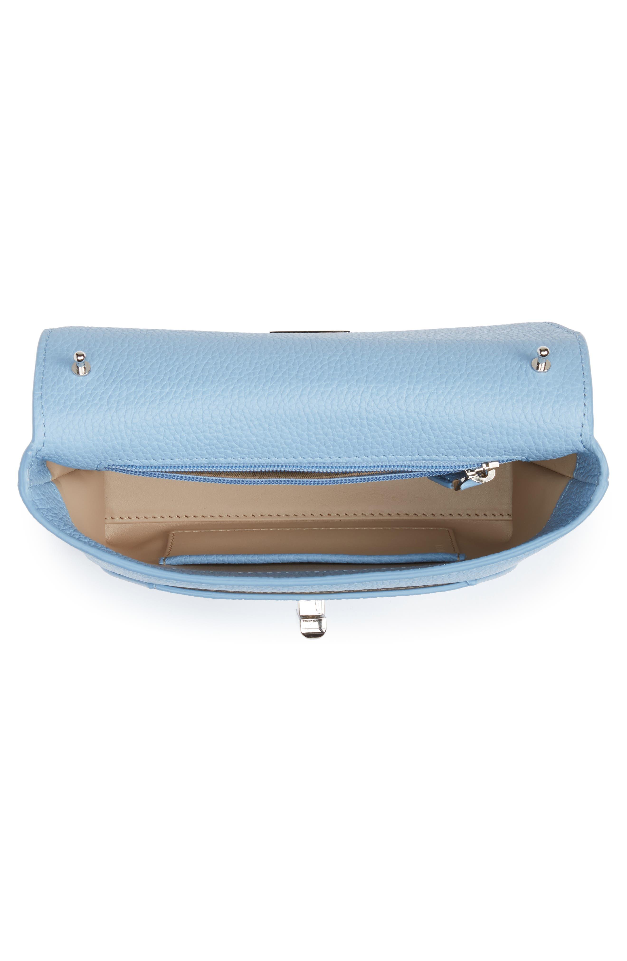 Little Anouk Calfskin Crossbody Bag,                             Alternate thumbnail 5, color,                             POWDER BLUE