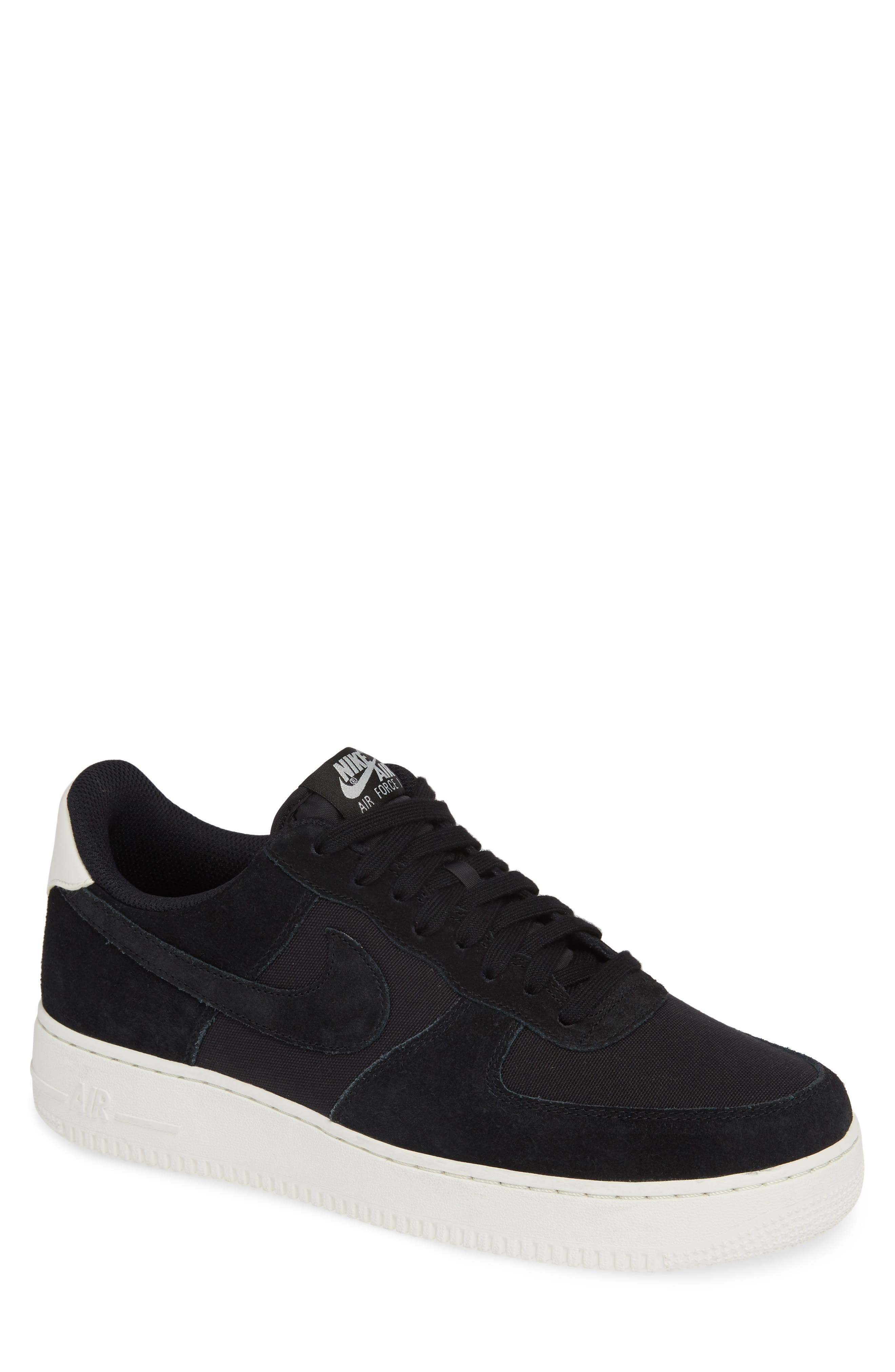 Air Force 1 '07 Suede Sneaker,                         Main,                         color, BLACK/ SAIL