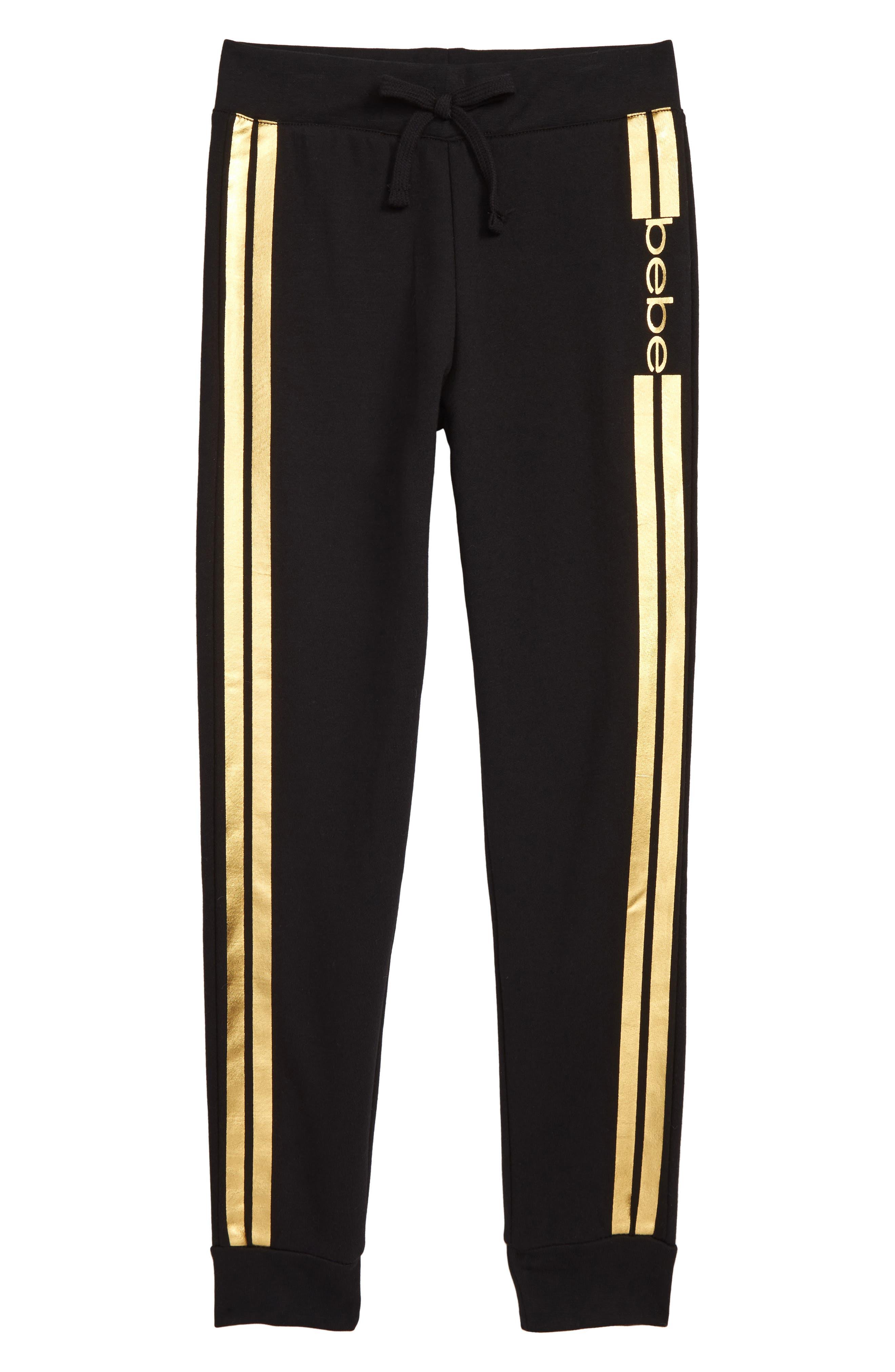 Girls Bebe Metallic Logo Stripe Jogger Pants