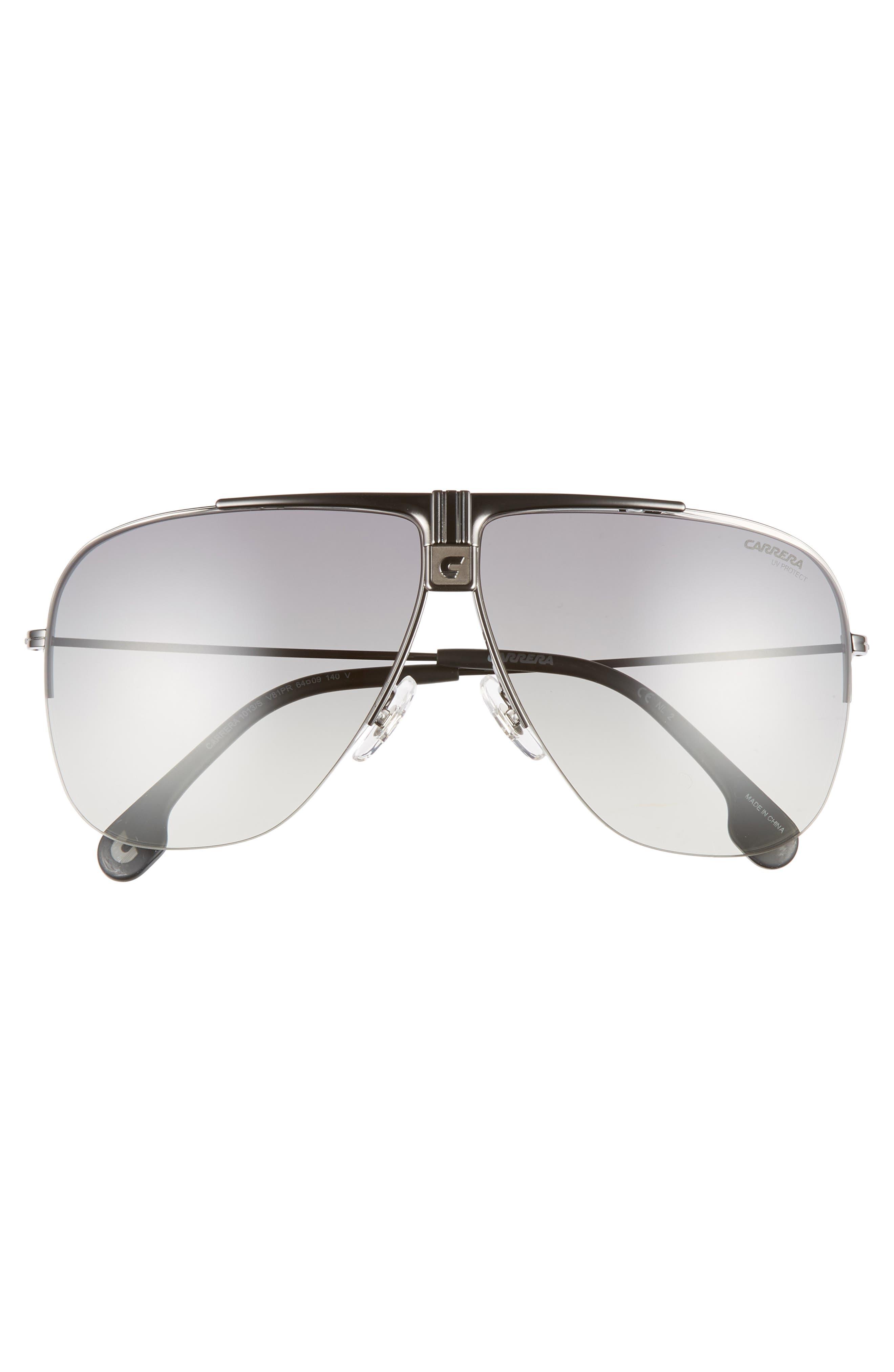 64mm Metal Aviator Sunglasses,                             Alternate thumbnail 2, color,                             DARK RUTHENIUM/ BLACK
