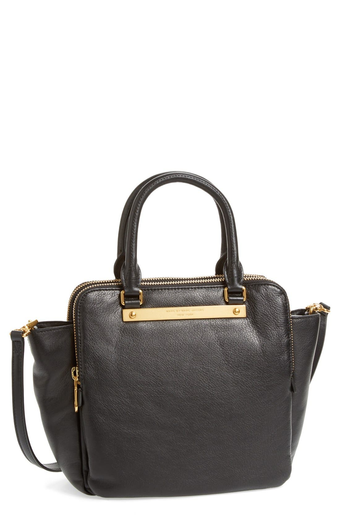MARC BY MARC JACOBS 'Goodbye Columbus' Leather Satchel, Main, color, 001