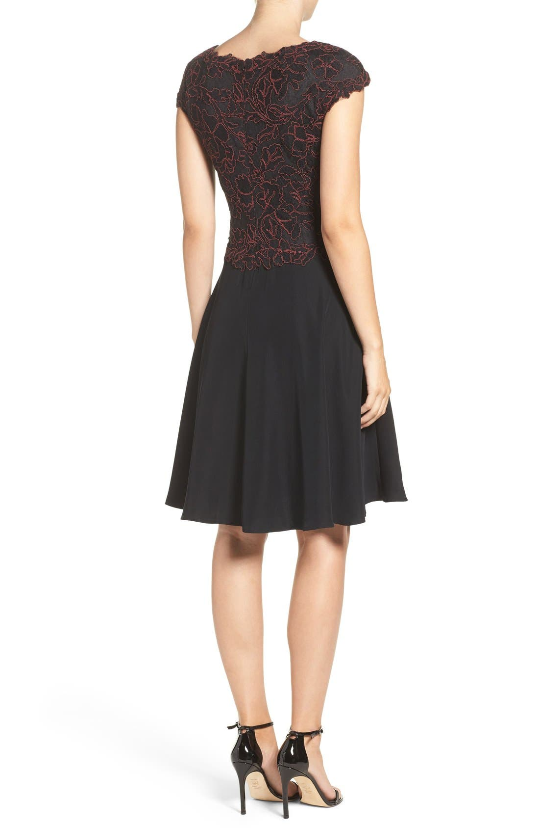 Embroidered Lace Fit & Flare Dress,                             Alternate thumbnail 4, color,