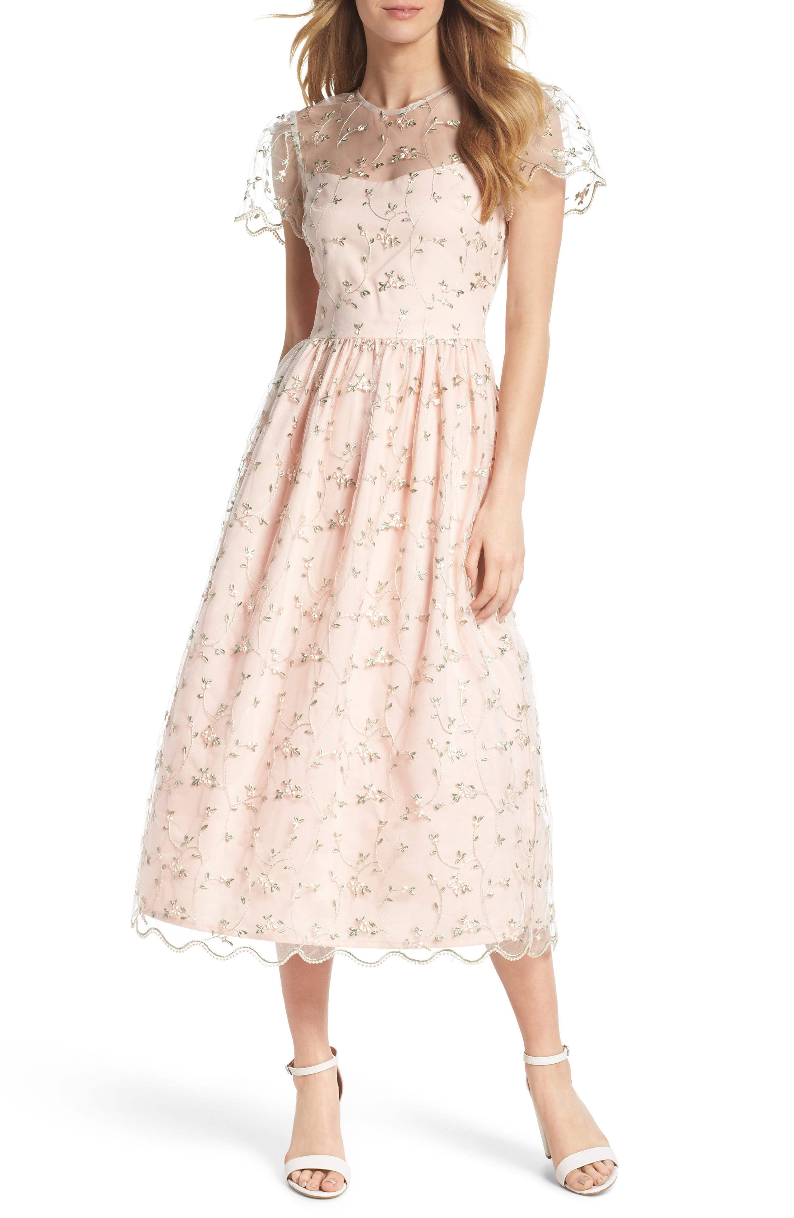Penelope Baby Bud Embroidered Fit & Flare Midi Dress,                             Alternate thumbnail 6, color,                             650