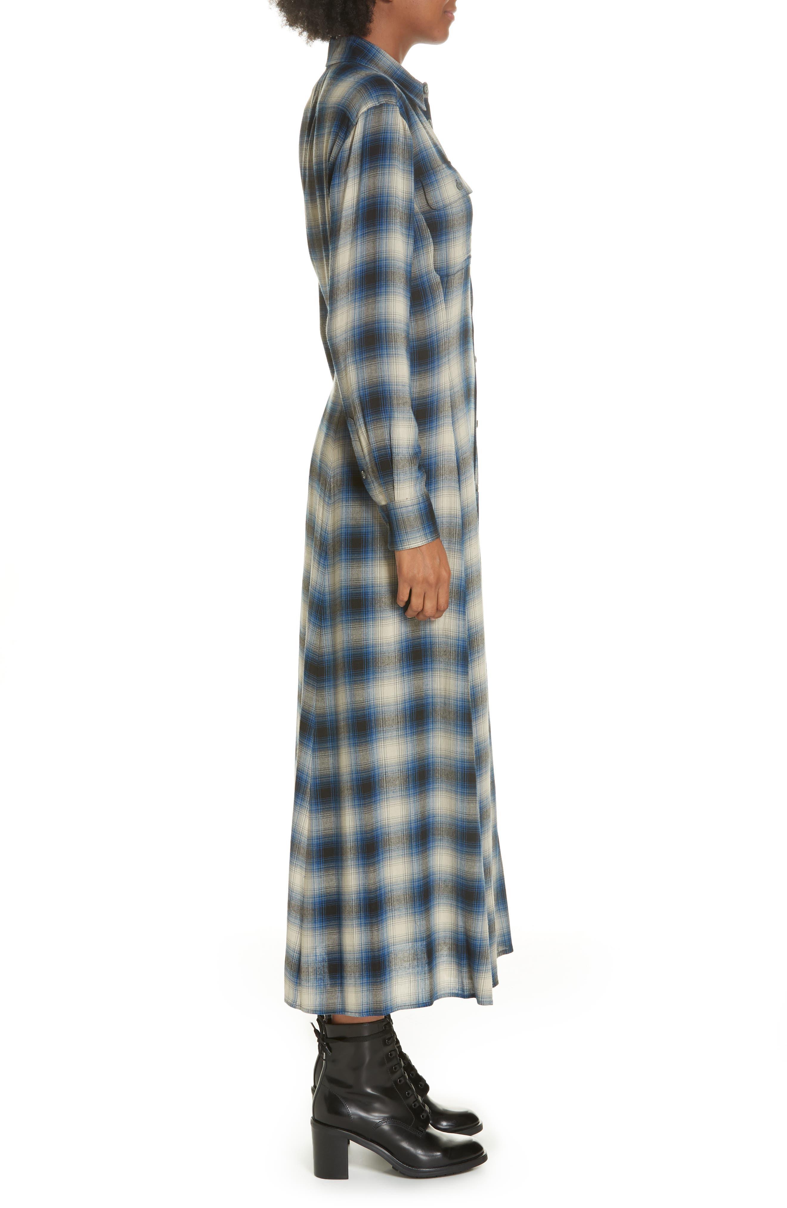 Plaid Midi Shirtdress,                             Alternate thumbnail 3, color,                             400