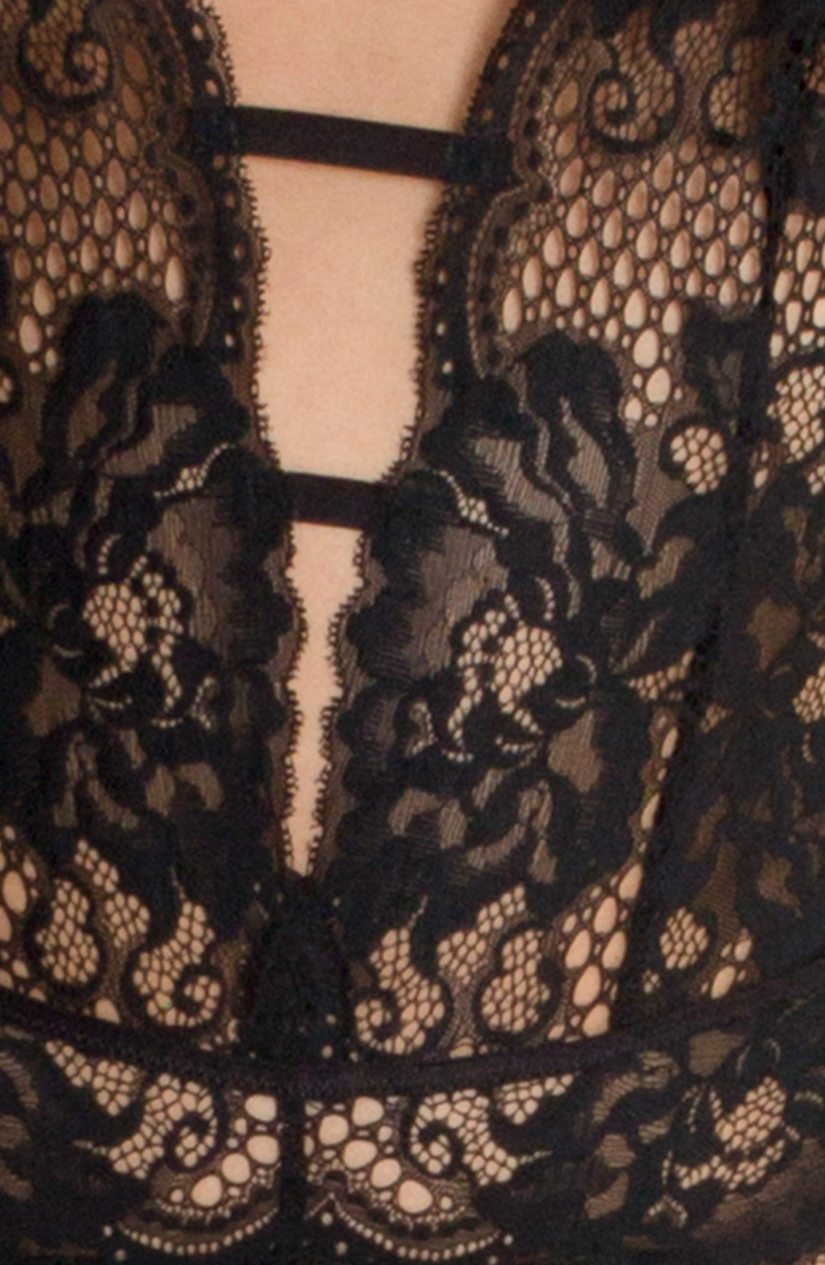 Lace Thong Teddy,                             Alternate thumbnail 4, color,                             001