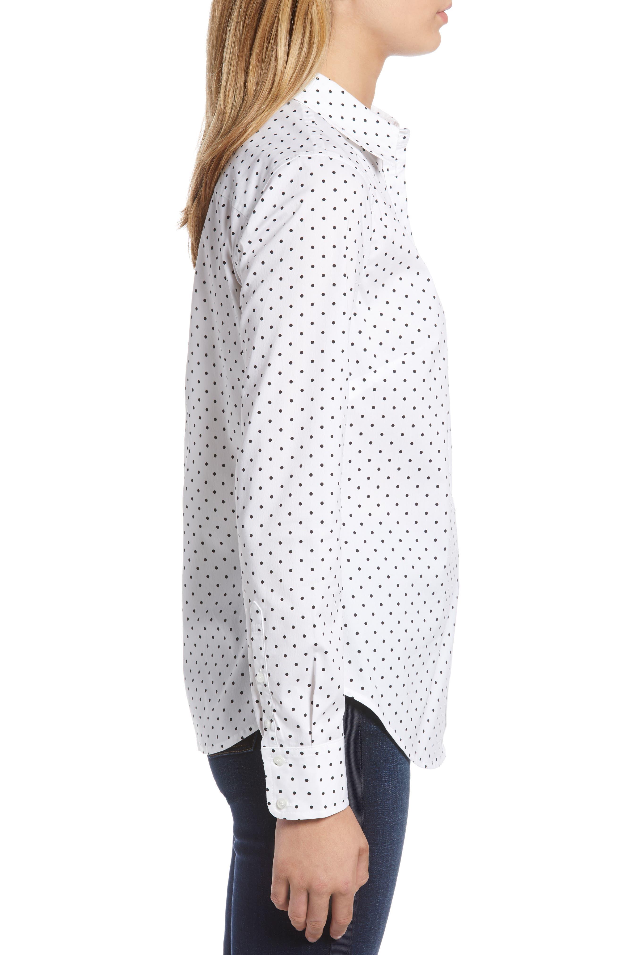 Polka Dot Stretch Cotton Blend Shirt,                             Alternate thumbnail 3, color,                             WHITE BISOU DOT