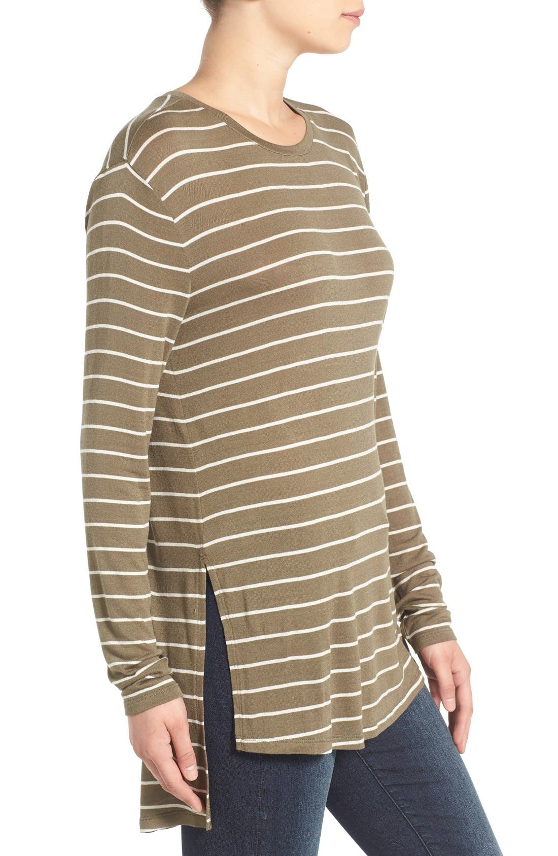 Stripe Long Sleeve Crewneck Tee,                             Alternate thumbnail 2, color,                             315