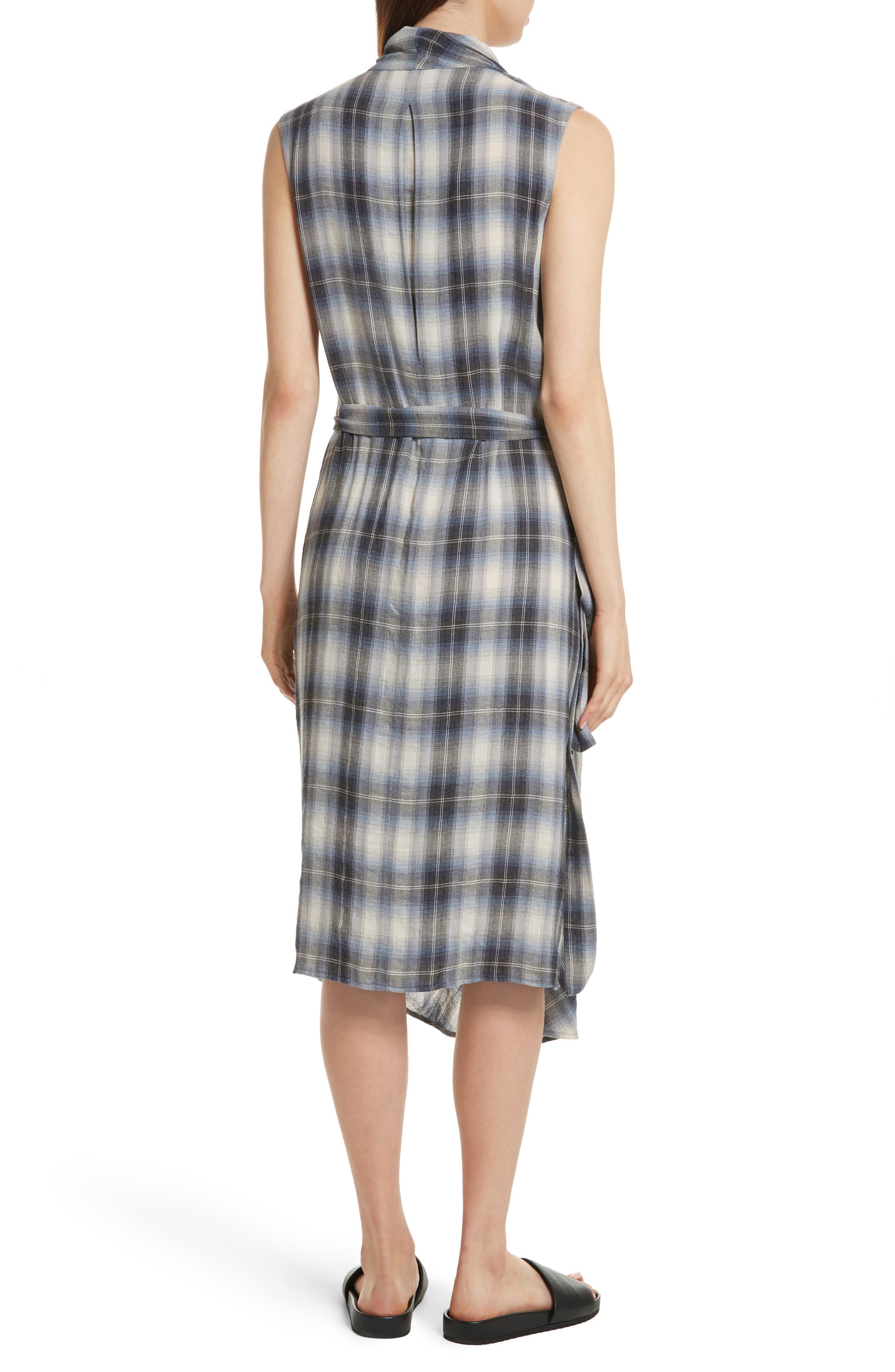 Shadow Plaid Sleeveless Wrap Dress,                             Alternate thumbnail 2, color,                             409