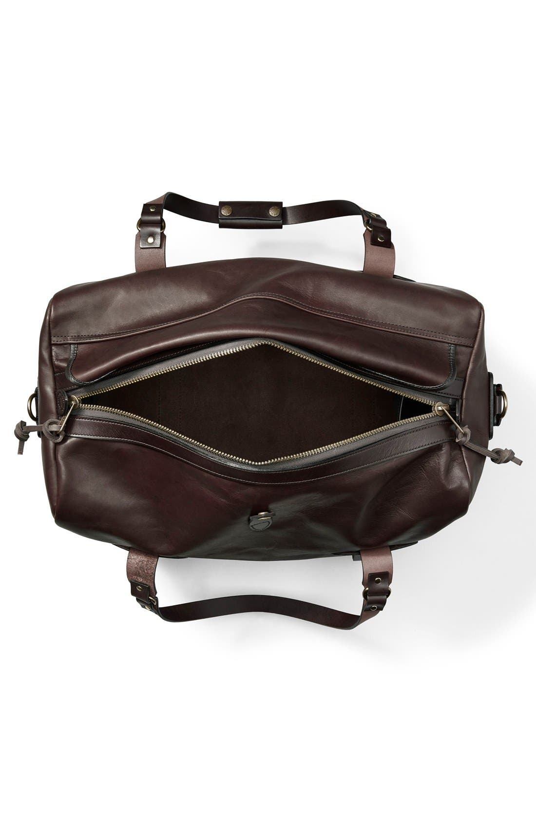 Weatherproof Leather Duffel Bag,                             Alternate thumbnail 3, color,