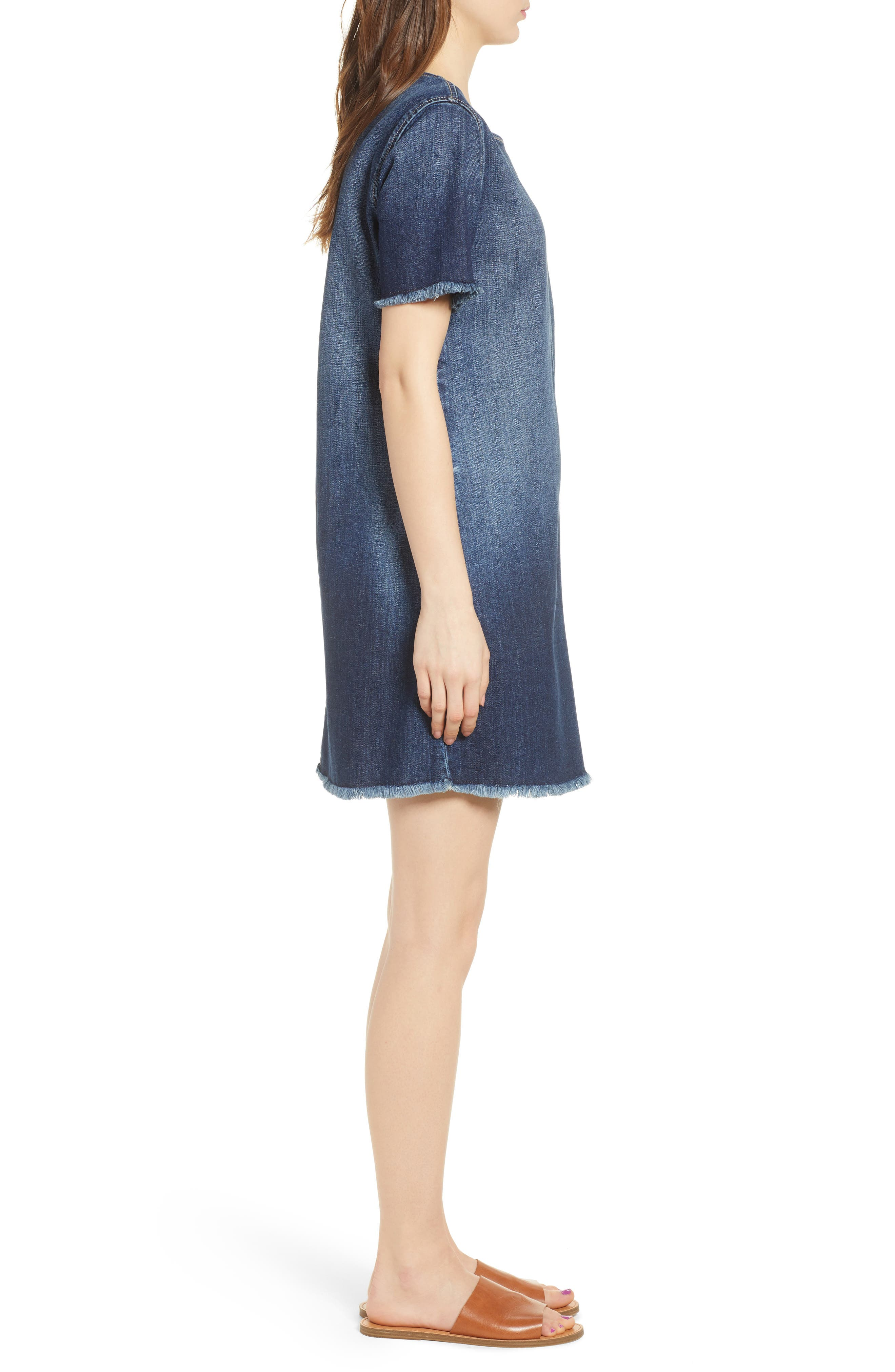 The Frayed Edge Denim Shift Dress,                             Alternate thumbnail 3, color,                             486