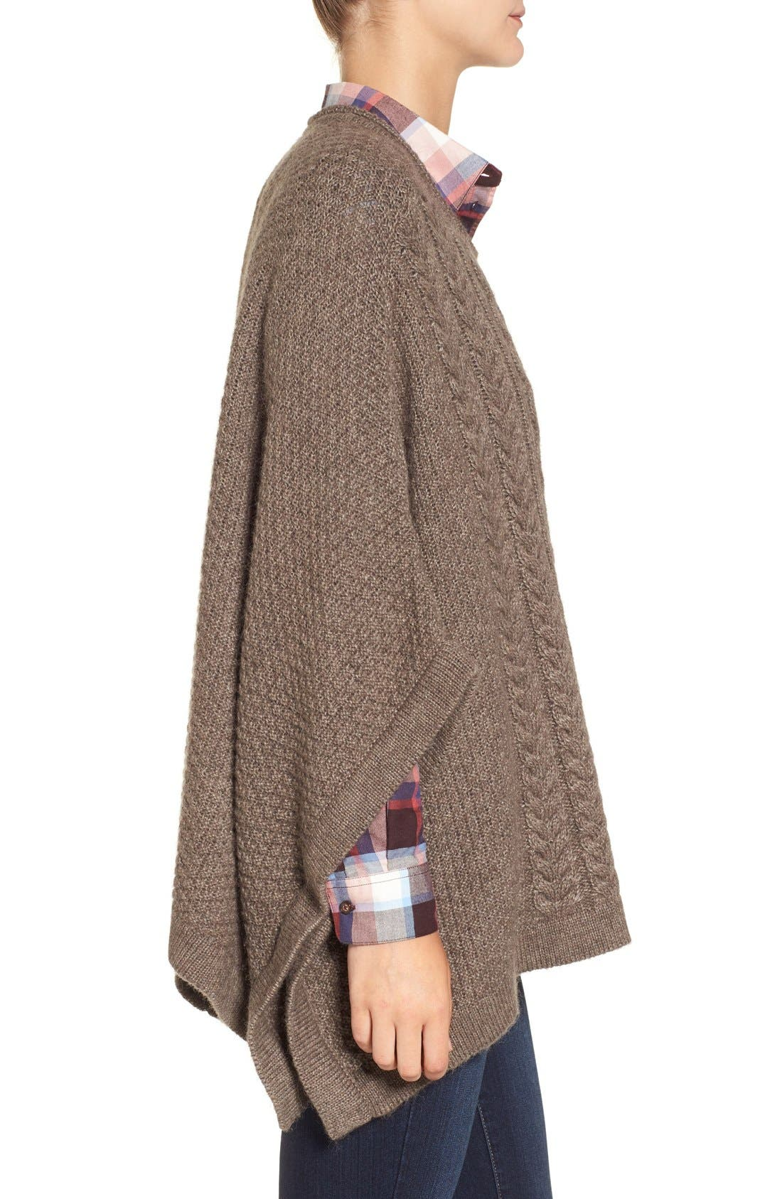 'Clover' Cable Knit Poncho,                             Alternate thumbnail 3, color,                             270