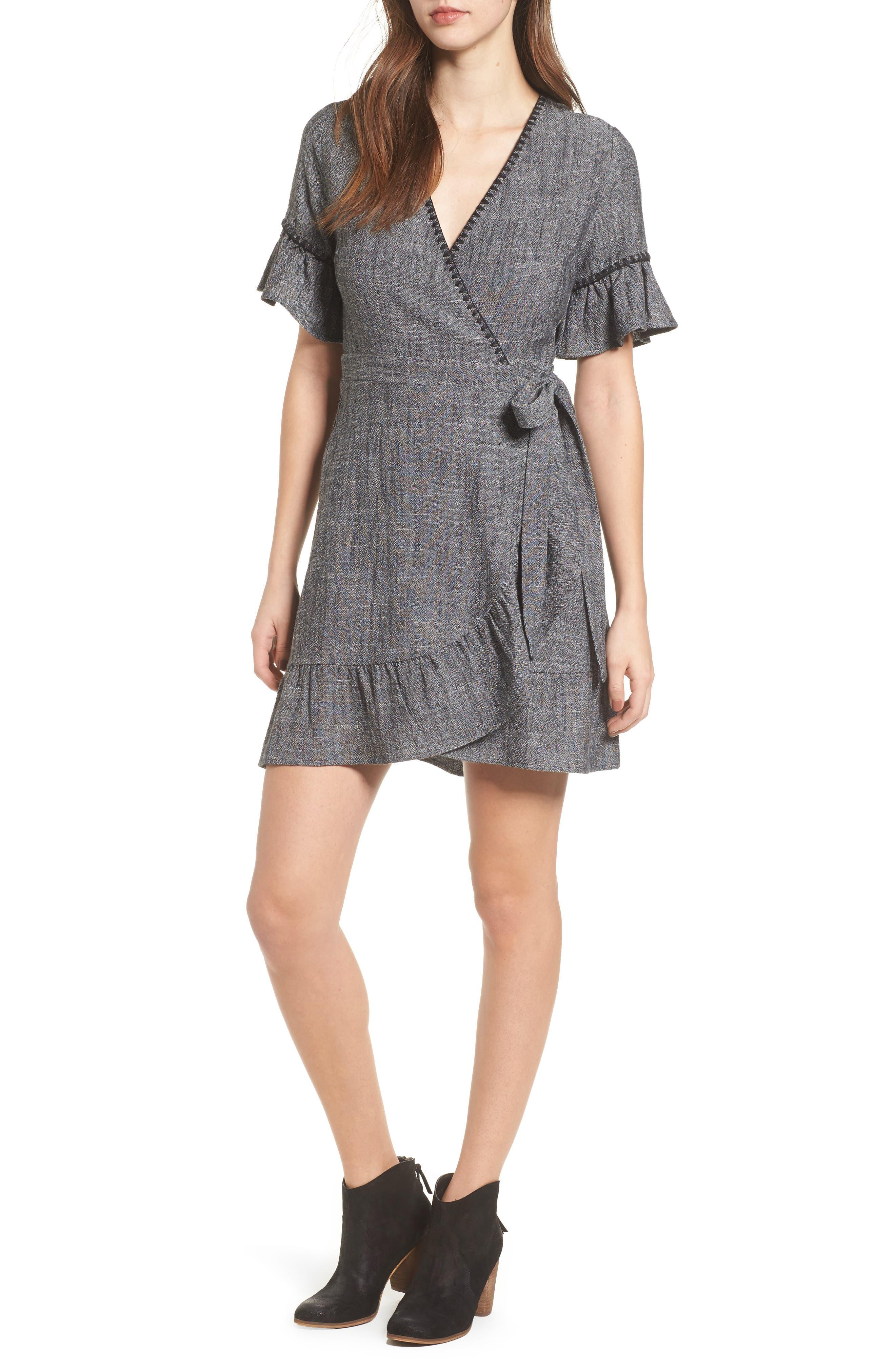 Blanket Stitch Wrap Dress,                             Main thumbnail 1, color,
