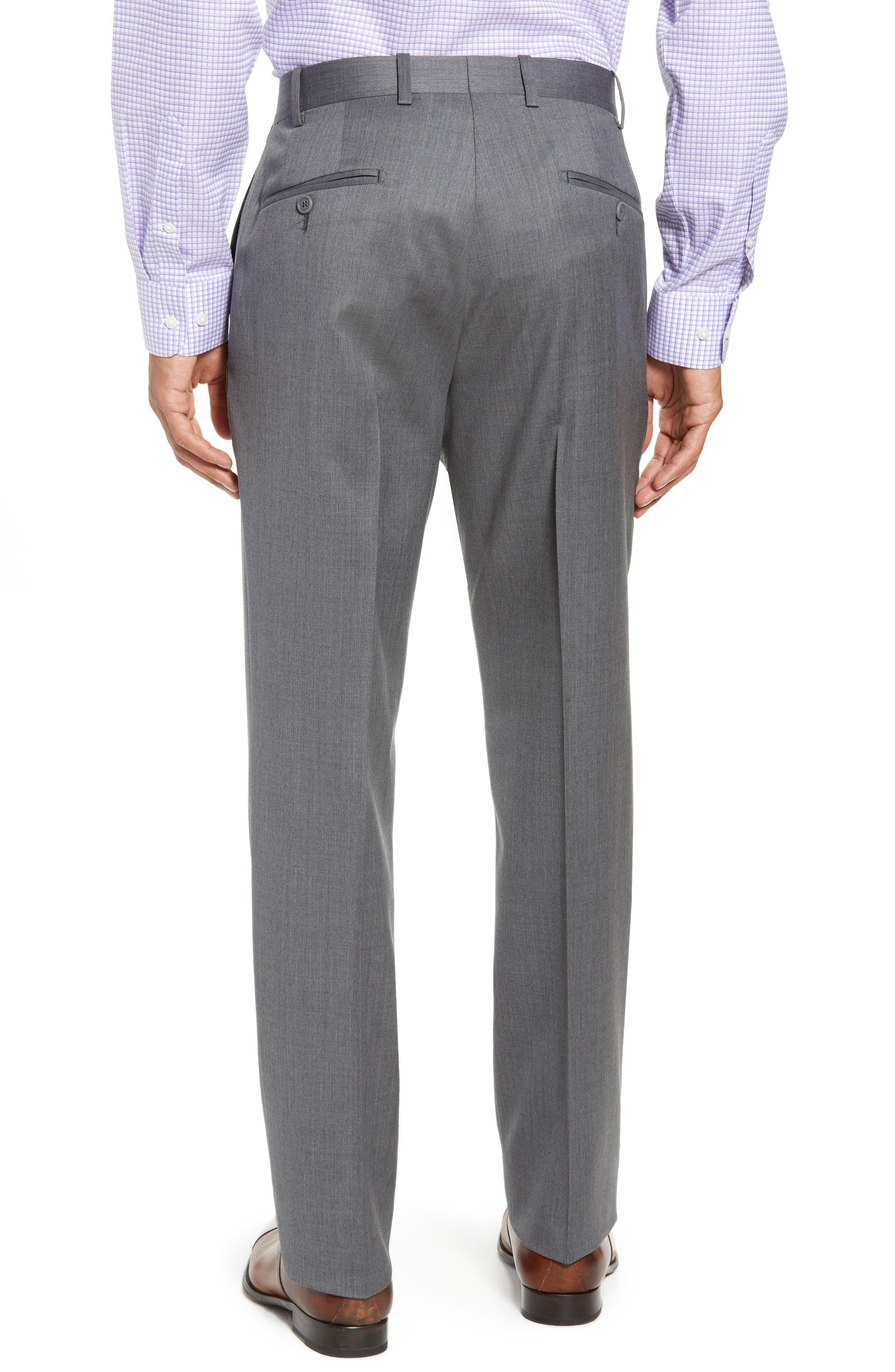 Torino Flat Front Wool Gabardine Trousers,                             Alternate thumbnail 9, color,