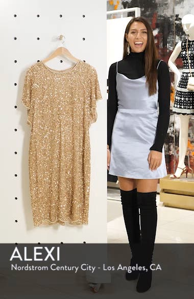 Beaded Flutter Sleeve Sheath Dress, sales video thumbnail