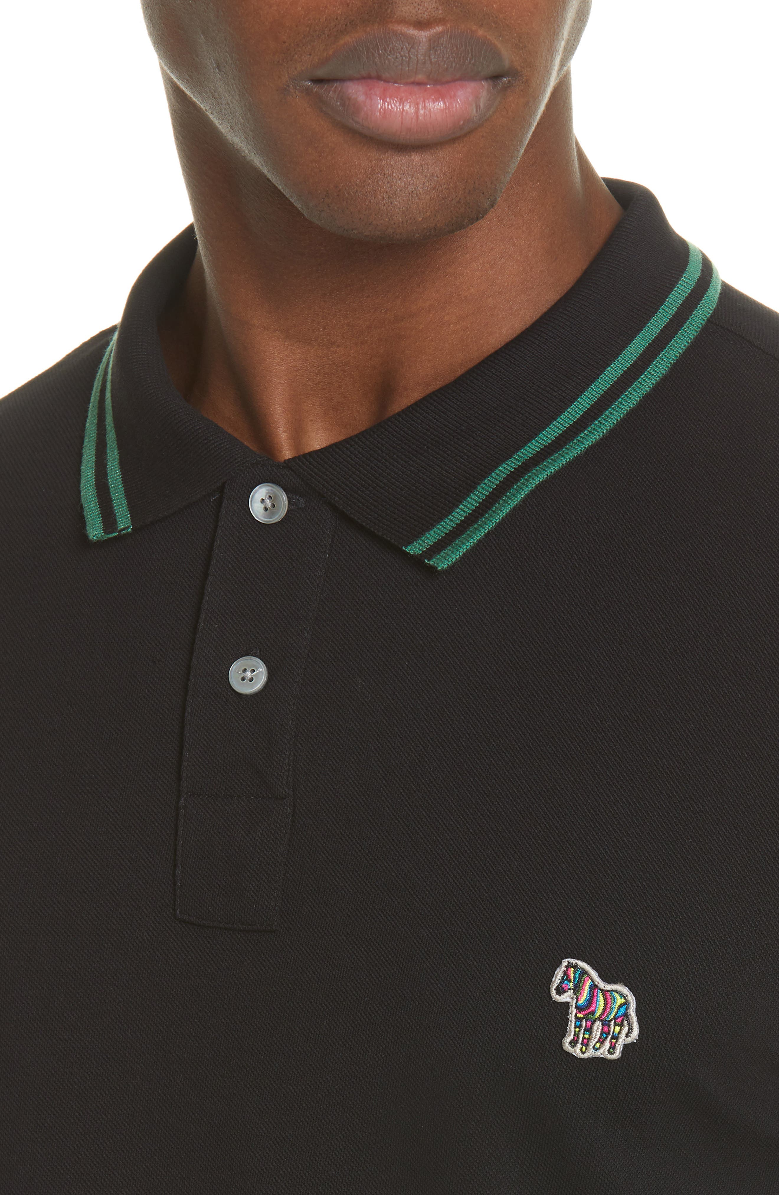 PS PAUL SMITH,                             Piped Collar Polo,                             Alternate thumbnail 4, color,                             BLACK