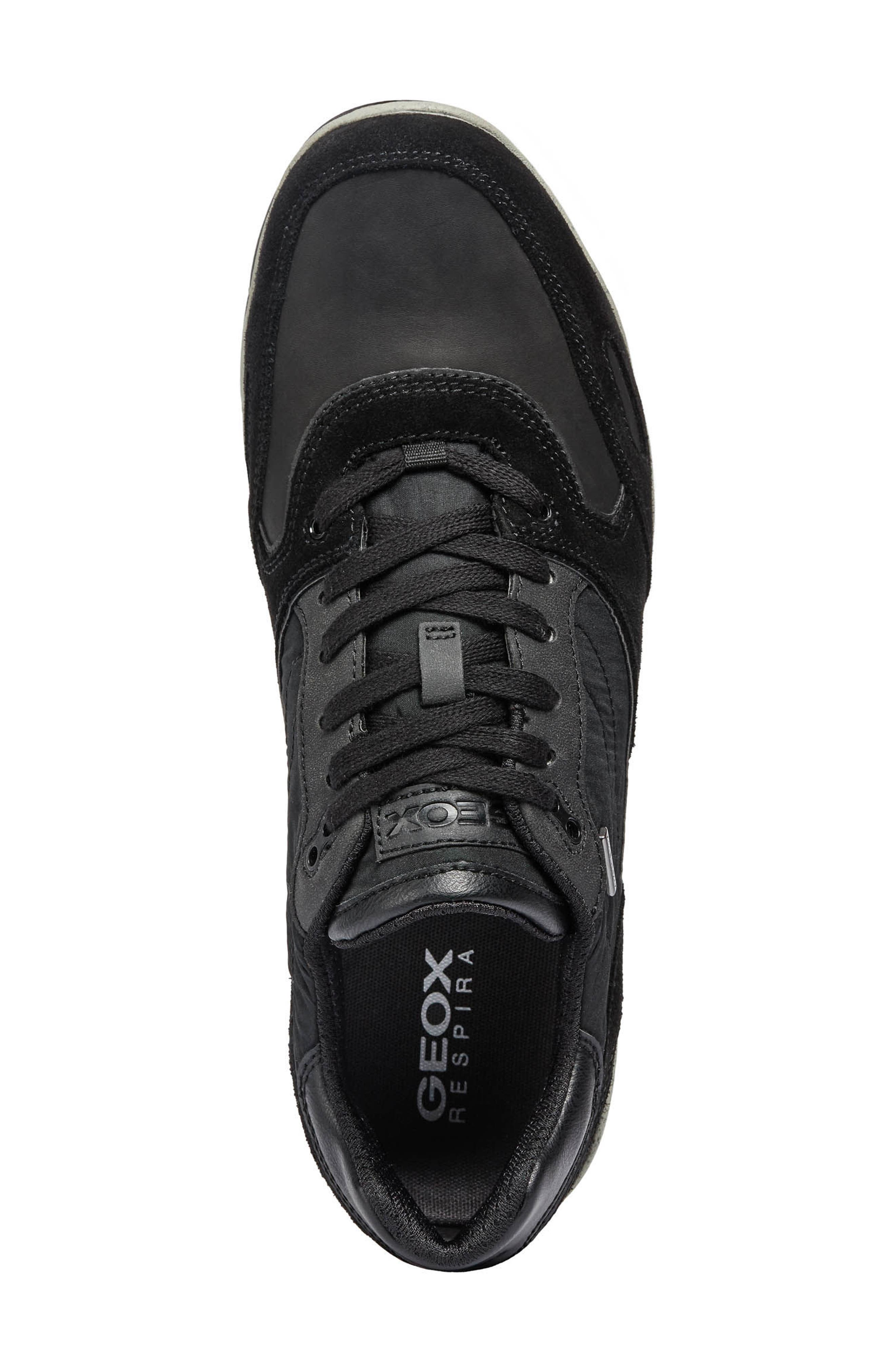 Sandro ABX Ambphibiox Waterproof Sneaker,                             Alternate thumbnail 5, color,                             BLACK/ BLACK LEATHER