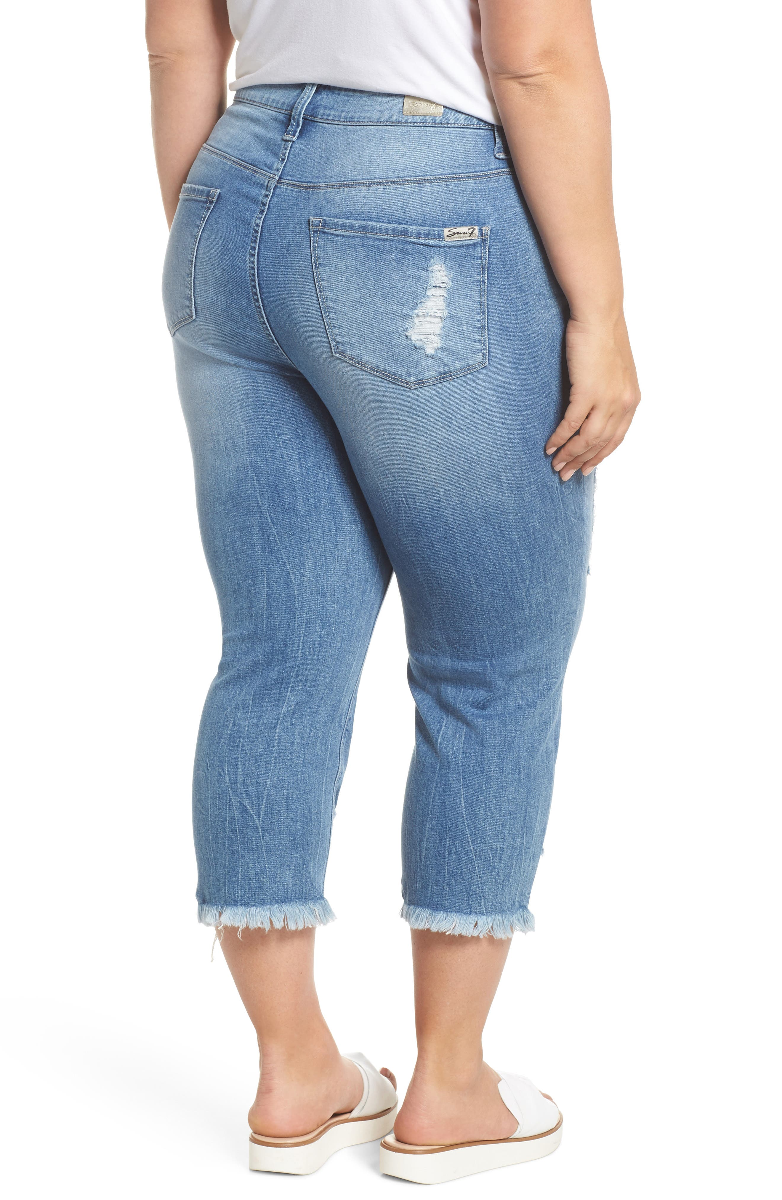 High Rise Distressed Crop Jeans,                             Alternate thumbnail 2, color,                             492
