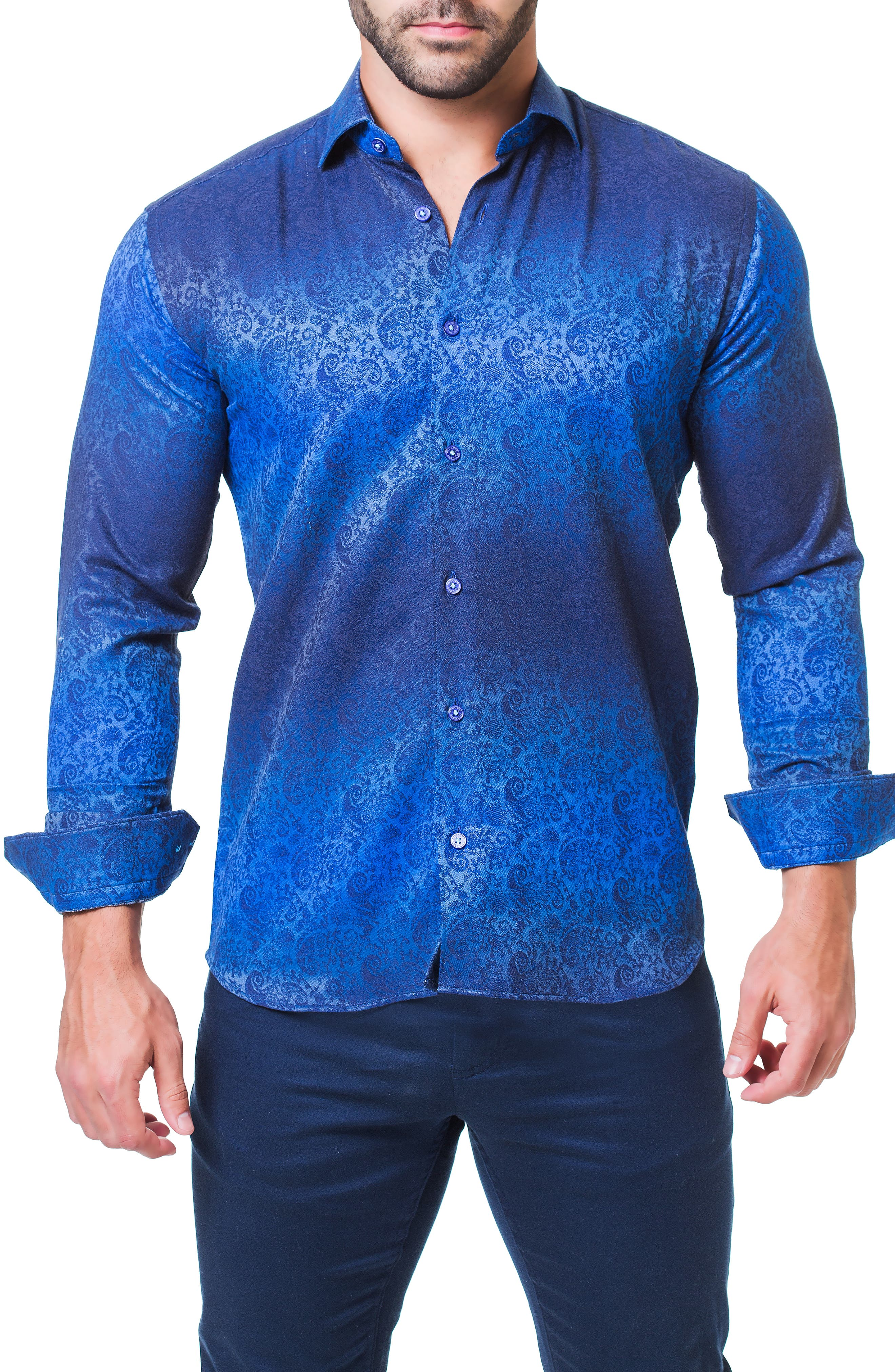 Fibonacci Paisley Trim Fit Sport Shirt,                             Alternate thumbnail 4, color,                             BLUE