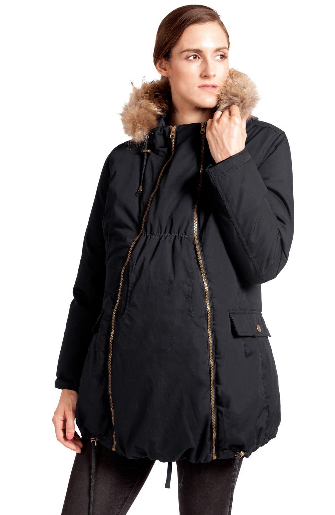 Convertible Down 3-in-1 Maternity Jacket,                             Main thumbnail 1, color,                             BLACK