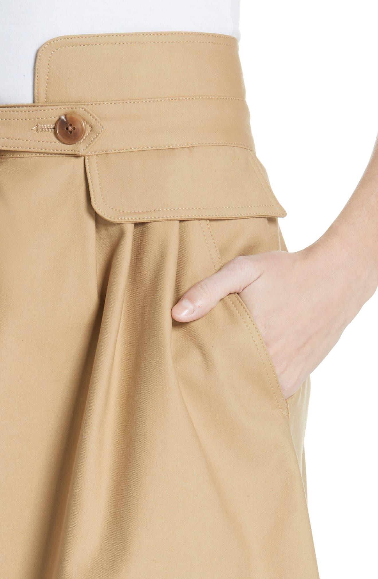 Kamille Peplum Waist Skirt,                             Alternate thumbnail 4, color,                             KHAKI
