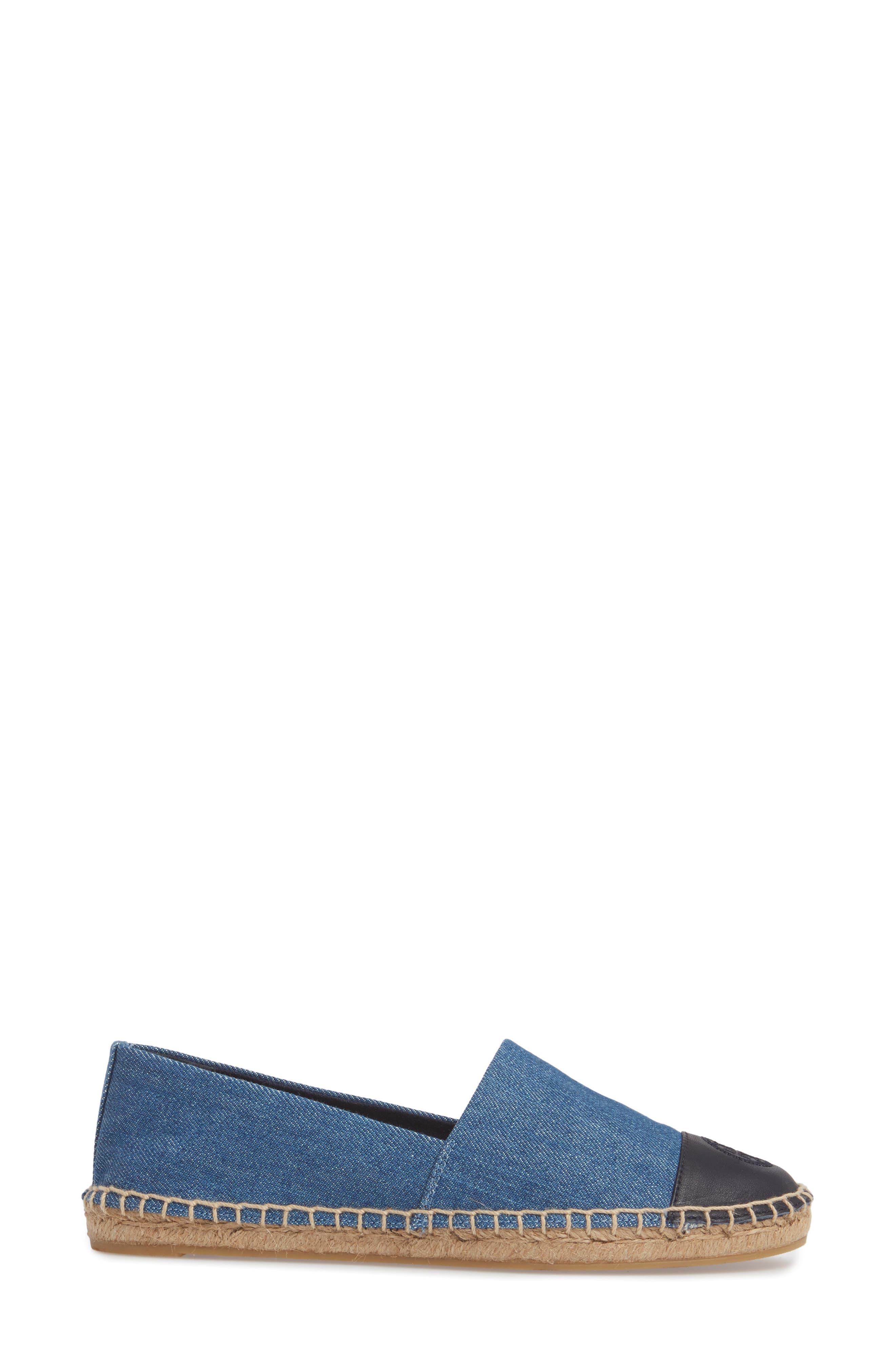 Colorblock Espadrille Flat,                             Alternate thumbnail 3, color,                             DENIM CHAMBRAY/ NAVY