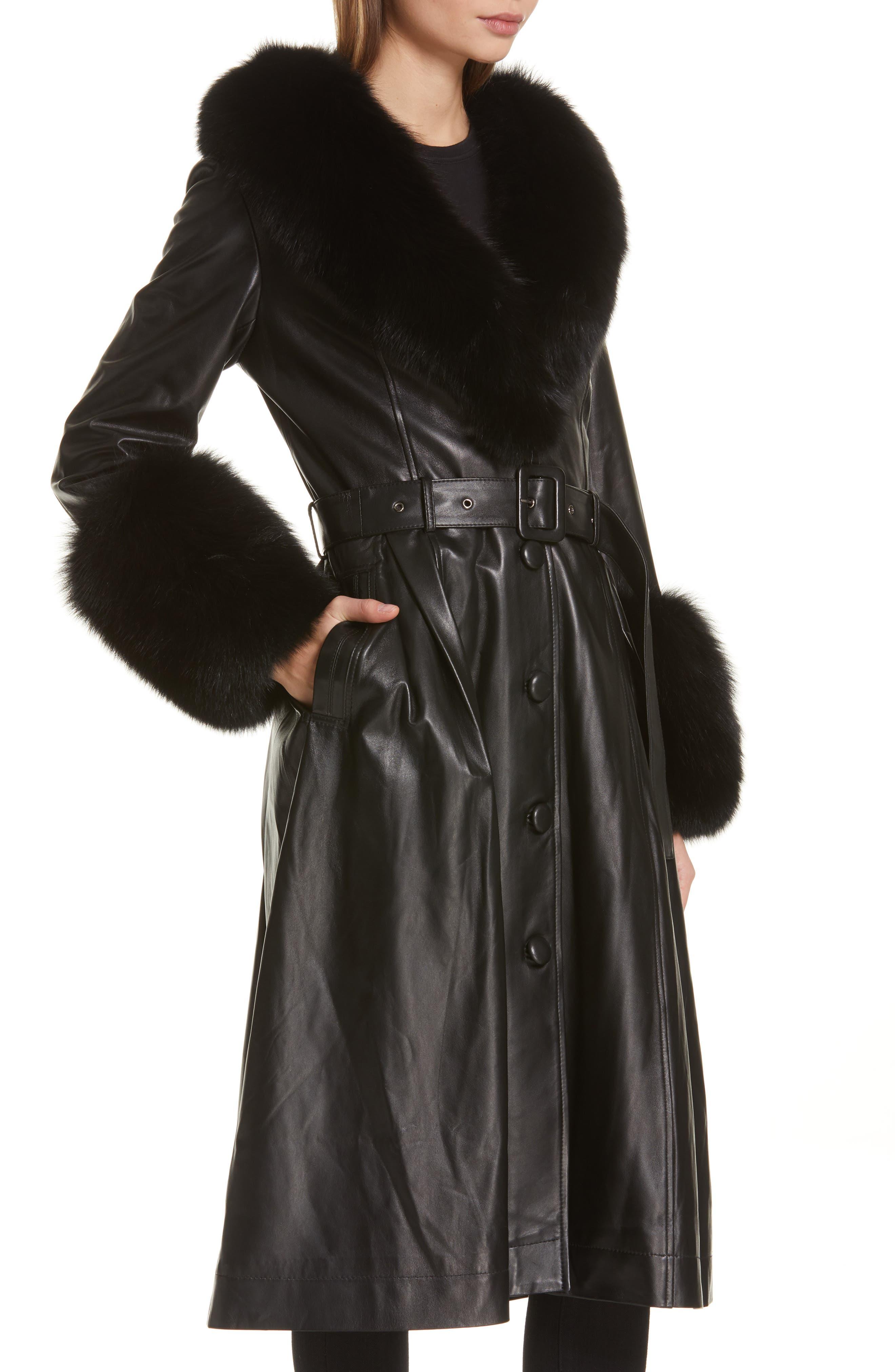 SAKS POTTS,                             Foxy Leather Coat with Genuine Fox Fur Trim,                             Alternate thumbnail 5, color,                             BLACK