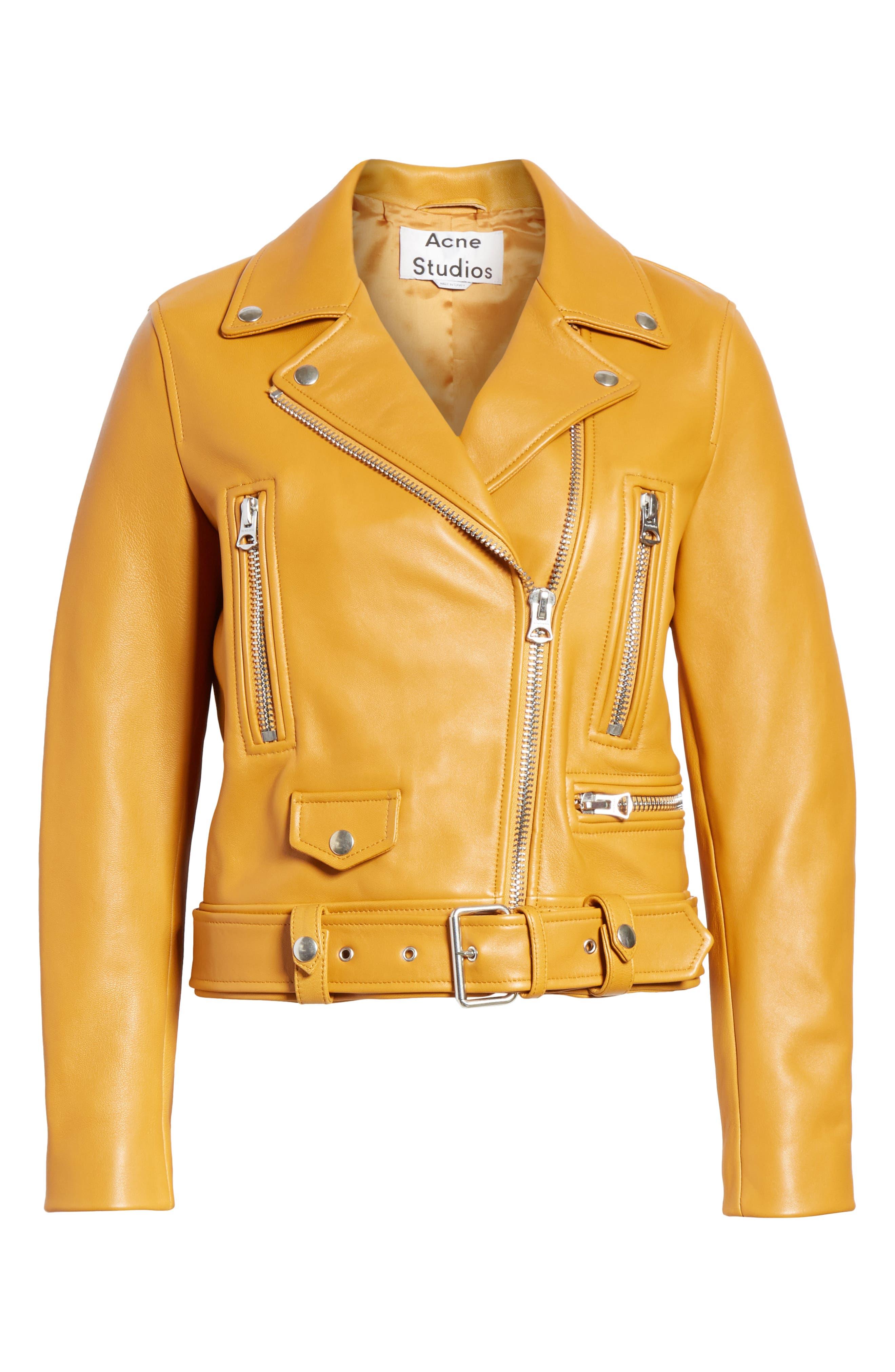 Mock Core Leather Moto Jacket,                             Alternate thumbnail 5, color,                             SUNFLOWER YELLOW