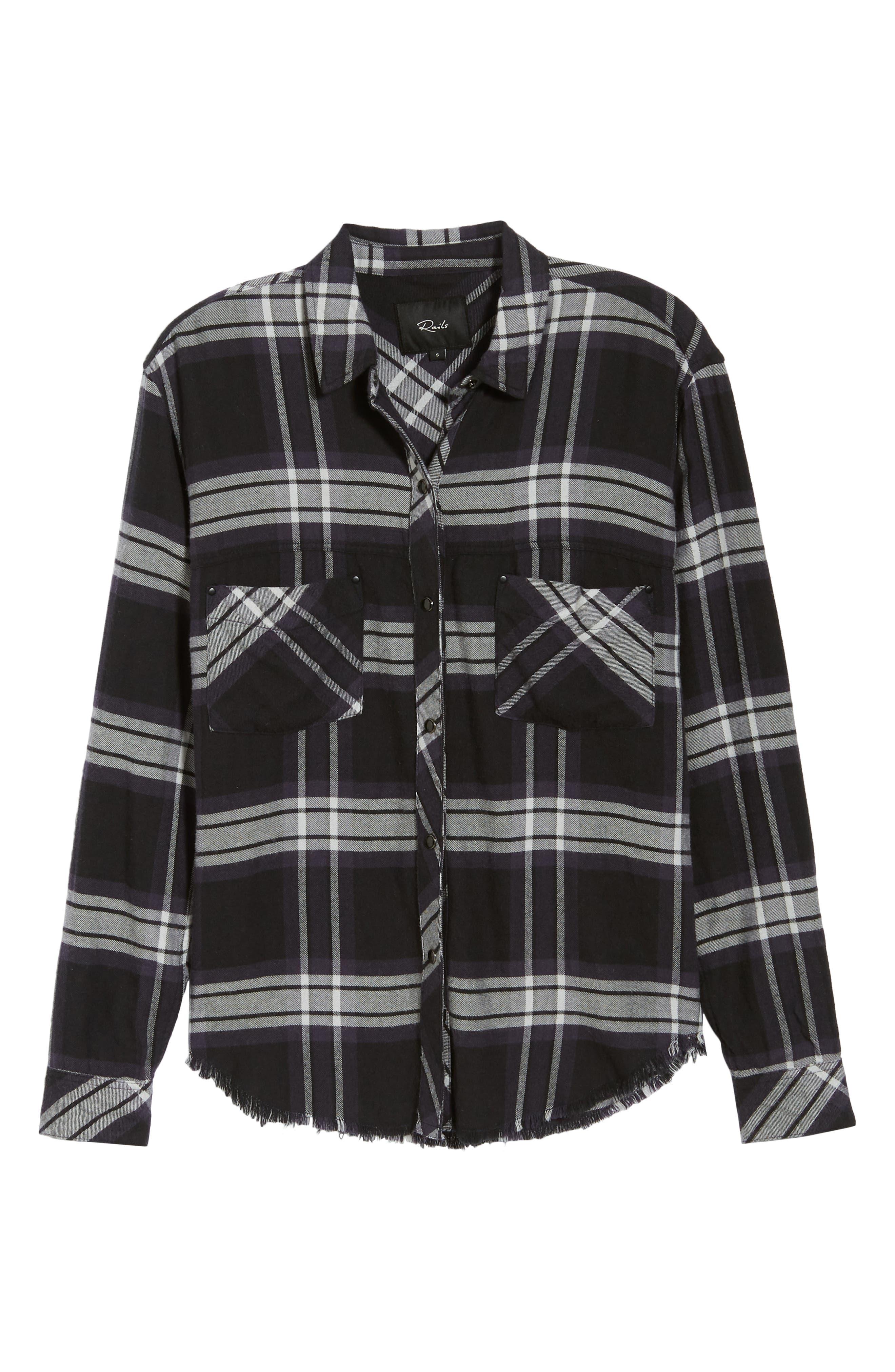 Leo Plaid Woven Shirt,                             Alternate thumbnail 6, color,                             BLACK ASH WHITE