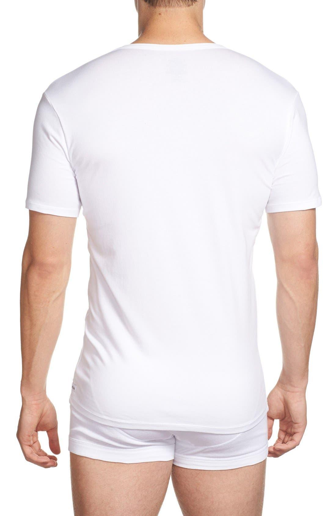 2-Pack Stretch Cotton T-Shirt,                             Alternate thumbnail 2, color,                             WHITE