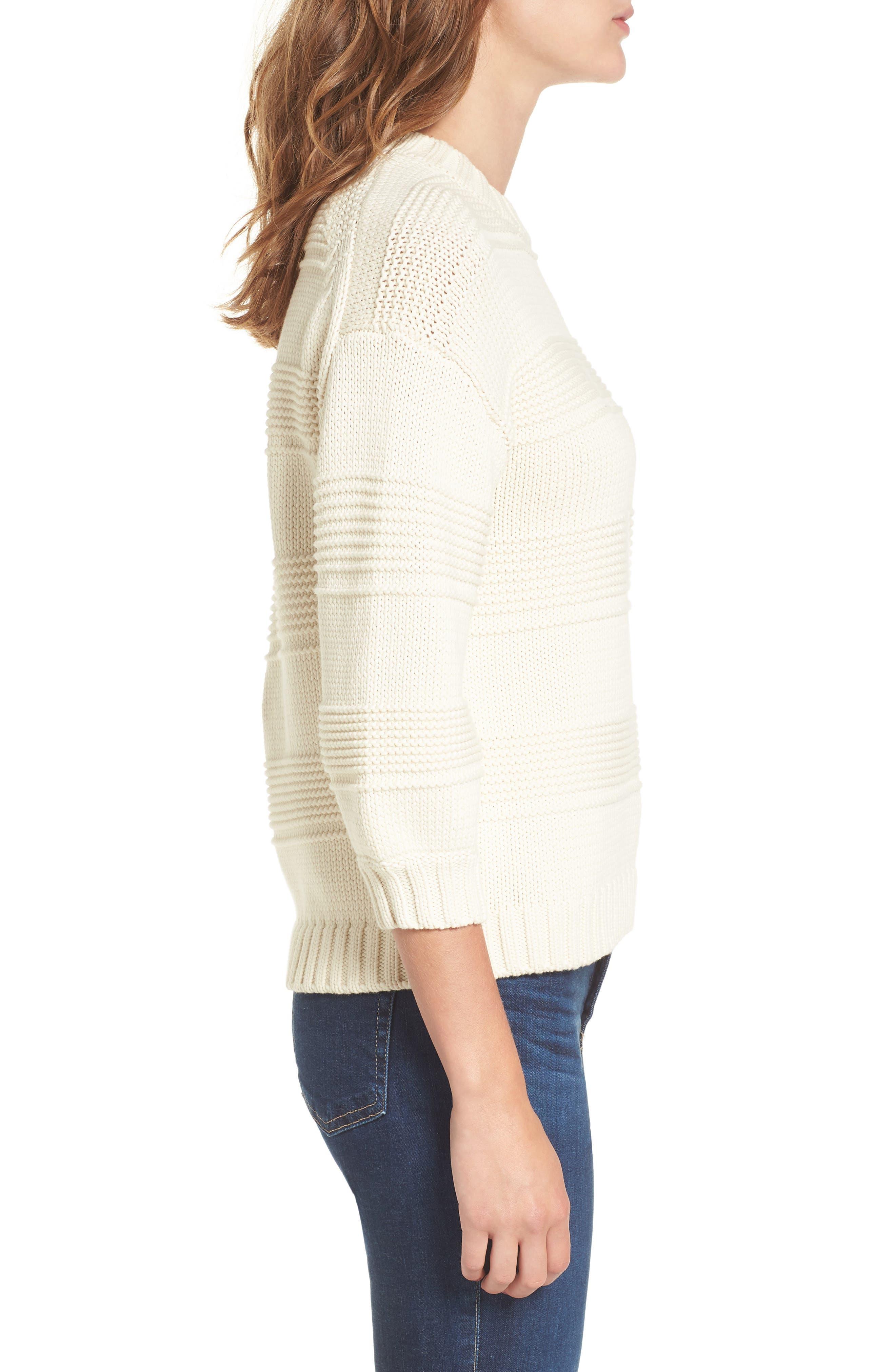 Sabrina Crewneck Sweater,                             Alternate thumbnail 3, color,                             BRIGHT CREAM
