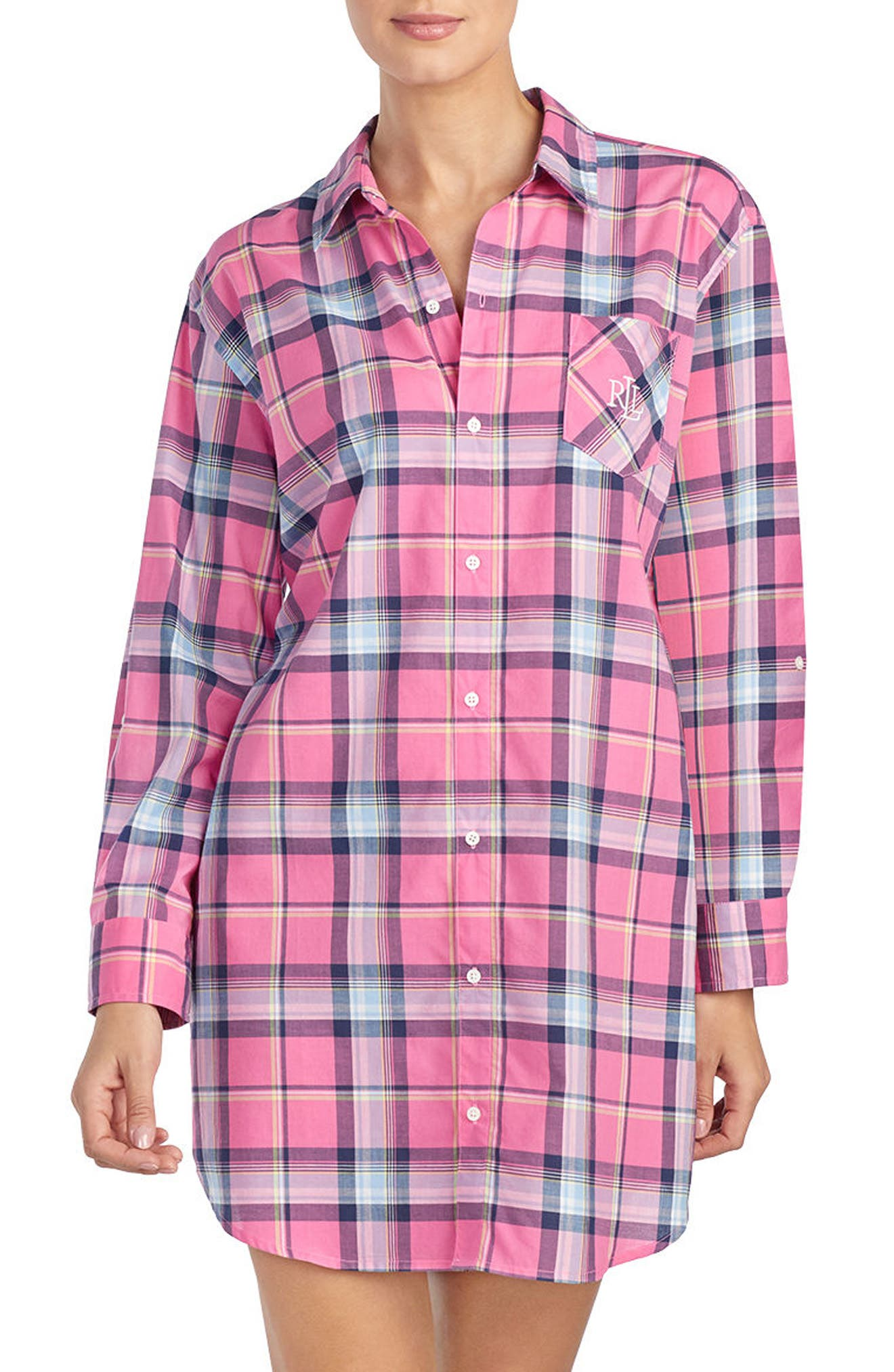 Plaid Sleep Shirt,                         Main,                         color, RED PLAID