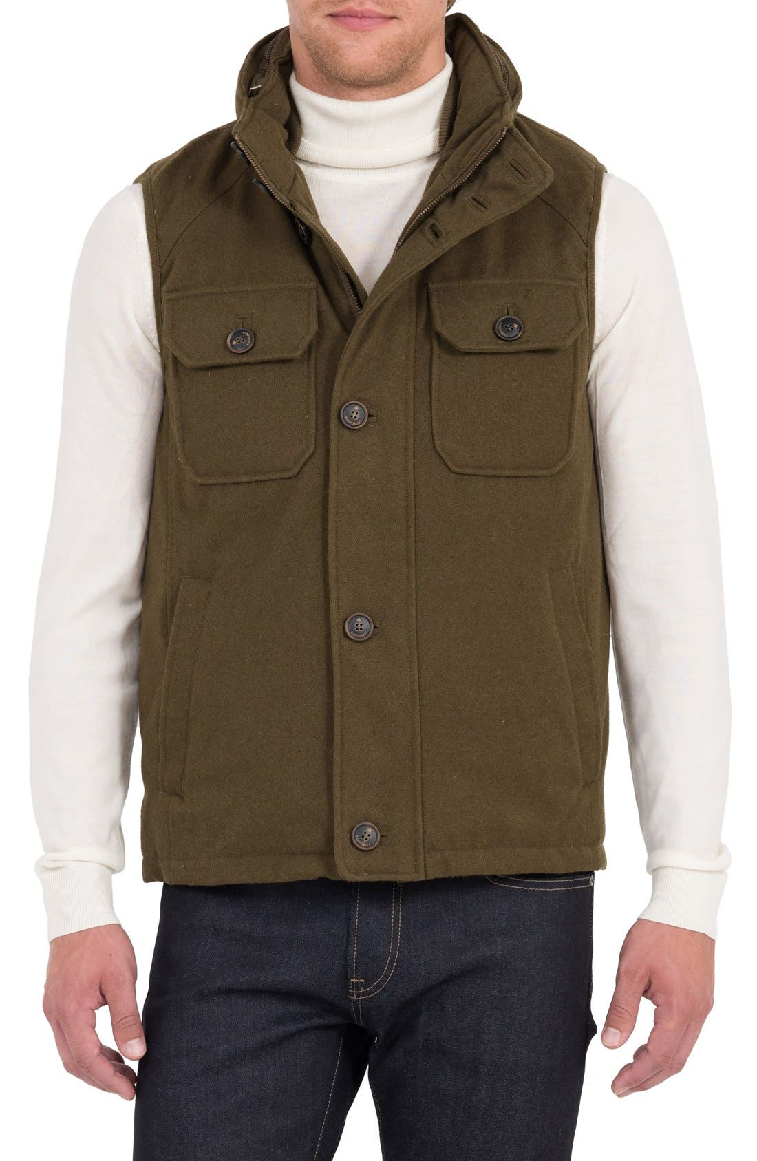 Water Resistant Down Vest with Stowaway Hood,                             Main thumbnail 1, color,                             317