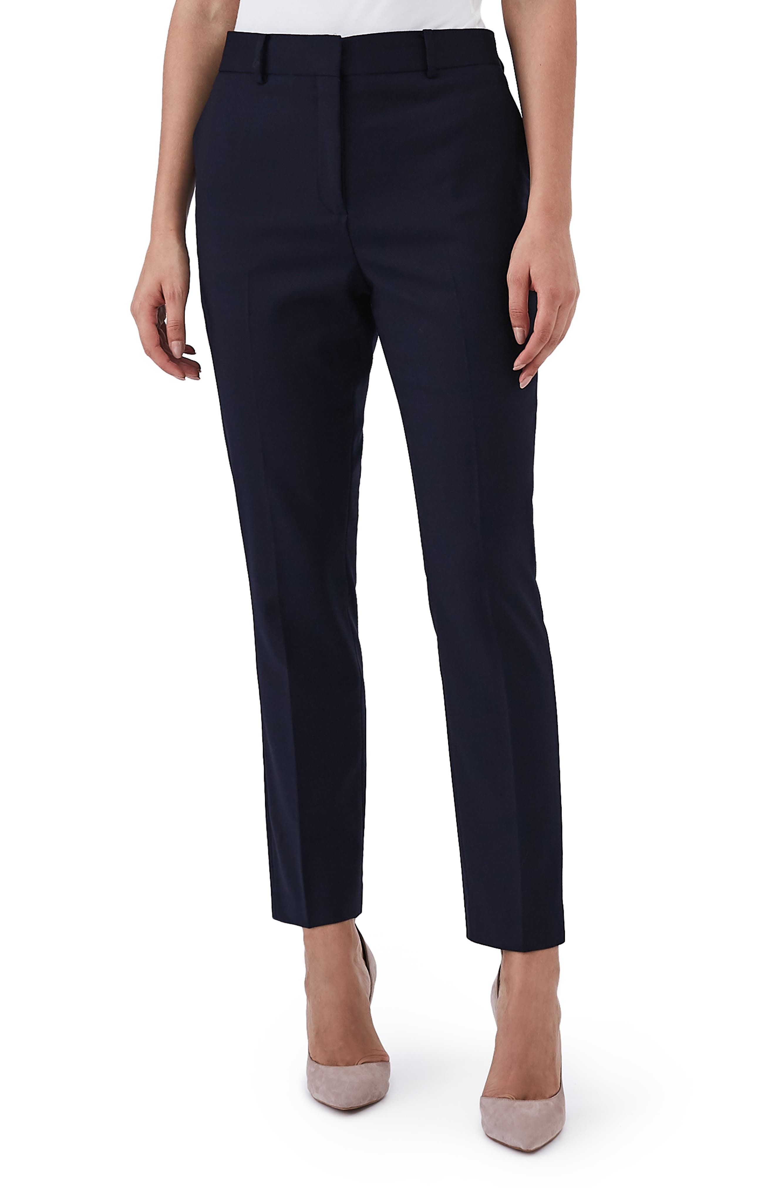 REISS Harper Stretch Wool Blend Pants in Black
