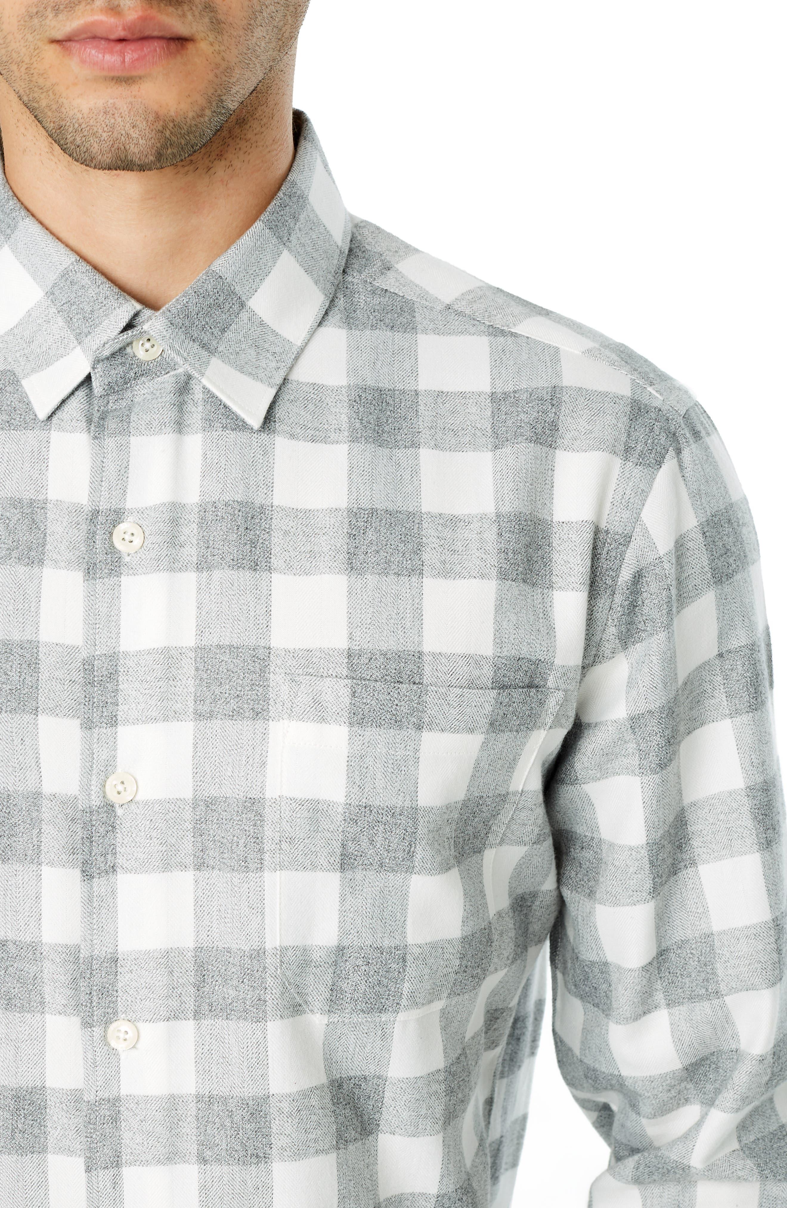 Sparrow Trim Fit Flannel Shirt,                             Alternate thumbnail 2, color,                             GREY WHITE