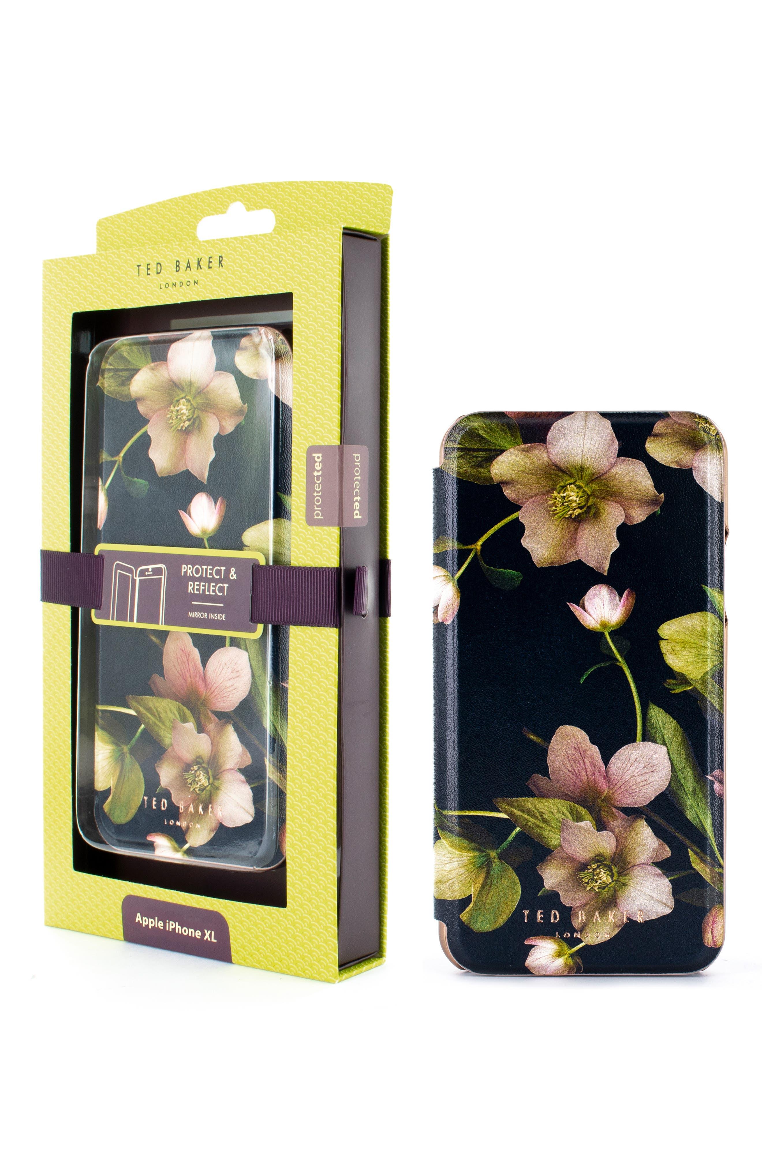 TED BAKER LONDON,                             Arboretum iPhone X/Xs/Xs Max & XR Mirror Folio Case,                             Alternate thumbnail 6, color,                             BLACK