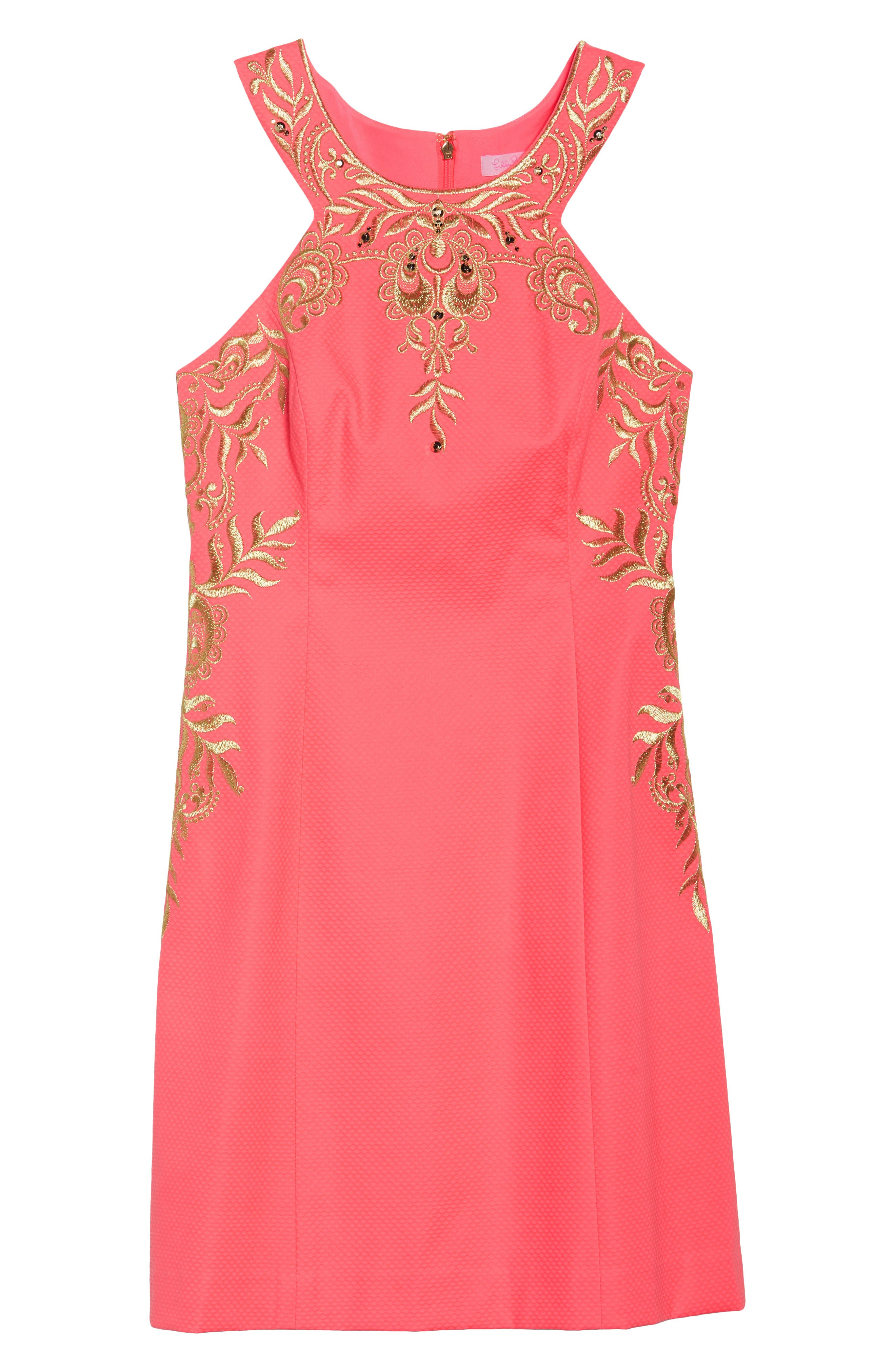 Tina Embroidered Sheath Dress,                             Alternate thumbnail 7, color,                             CORAL SUNS